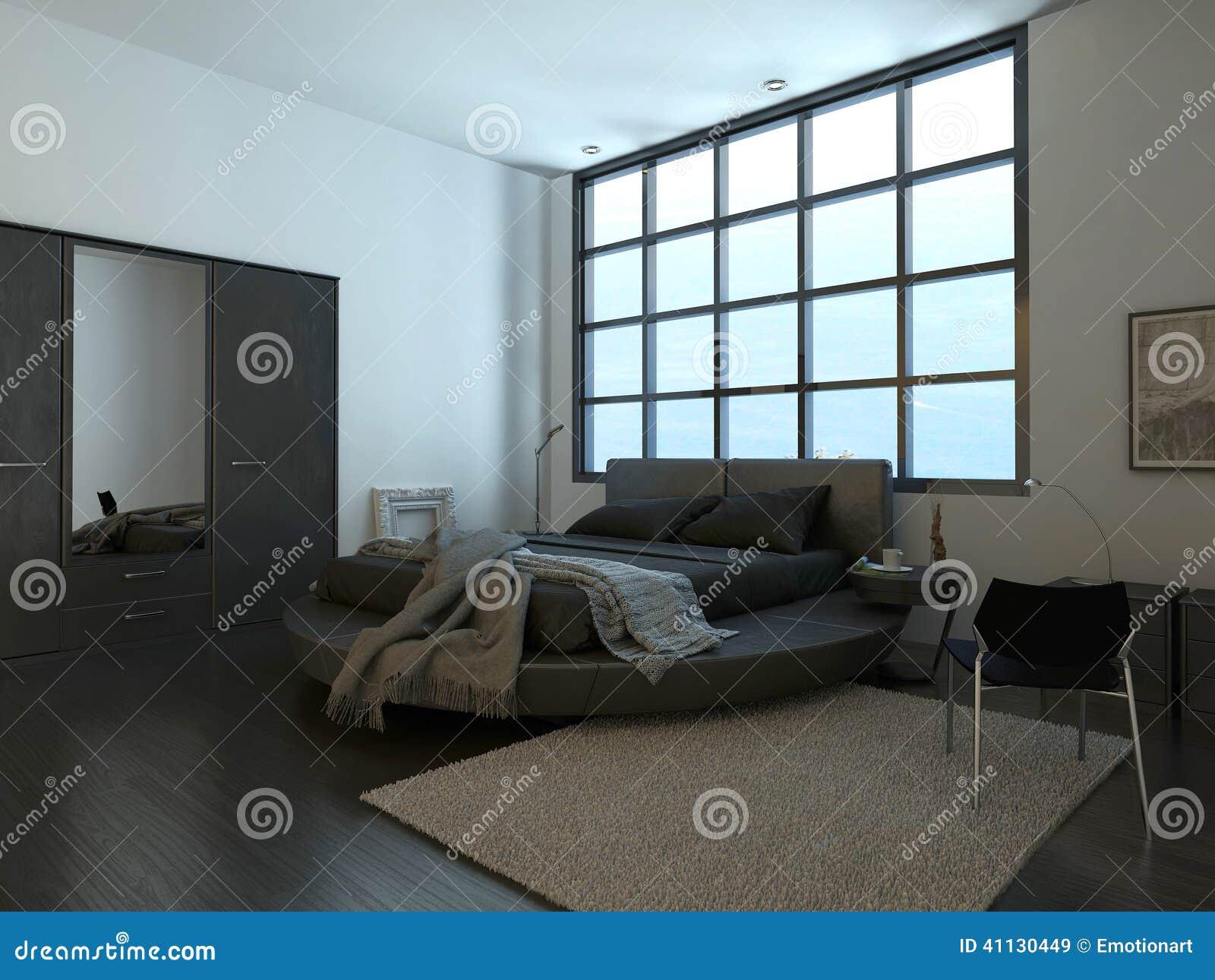 Int rieur moderne de chambre coucher avec la fen tre for Interieur de chambre a coucher