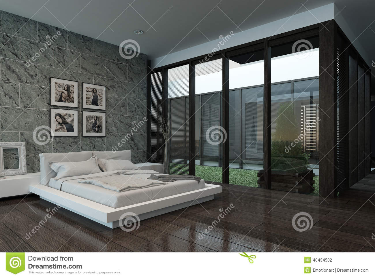 int rieur moderne de chambre coucher avec le mur en pierre illustration stock image 40434502. Black Bedroom Furniture Sets. Home Design Ideas