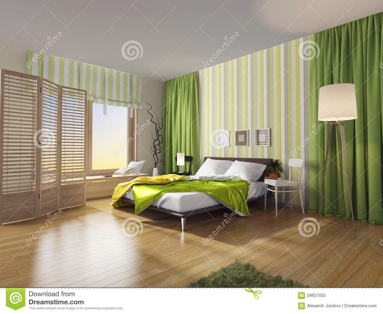 int rieur moderne de chambre coucher avec le rideau vert illustration stock image 59657055. Black Bedroom Furniture Sets. Home Design Ideas