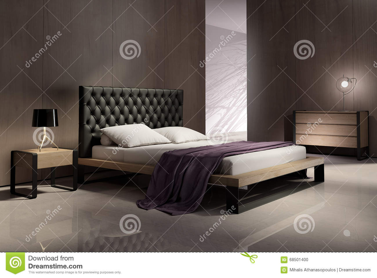 int rieur moderne de chambre coucher avec les murs en. Black Bedroom Furniture Sets. Home Design Ideas