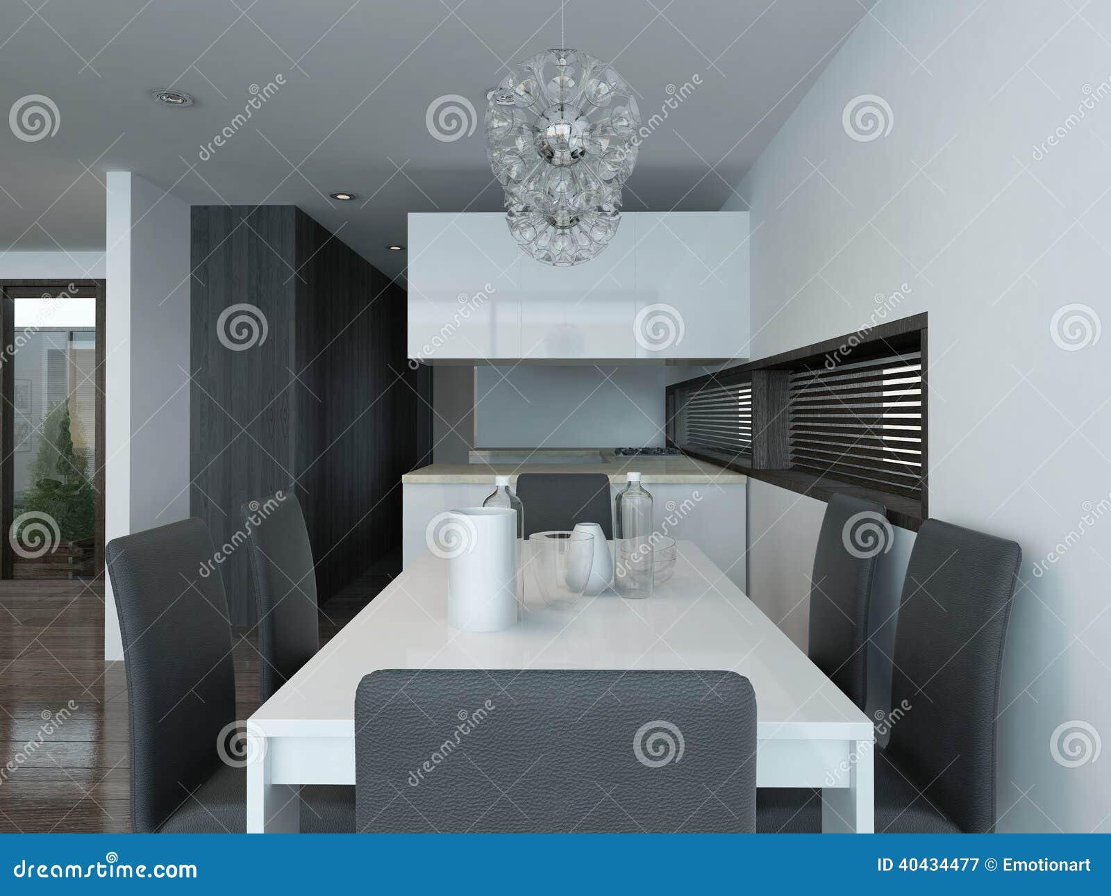 int rieur moderne de cuisine avec l 39 arrangement de table cuisine avec salle a - Cuisine Avec Salle A Manger Integree