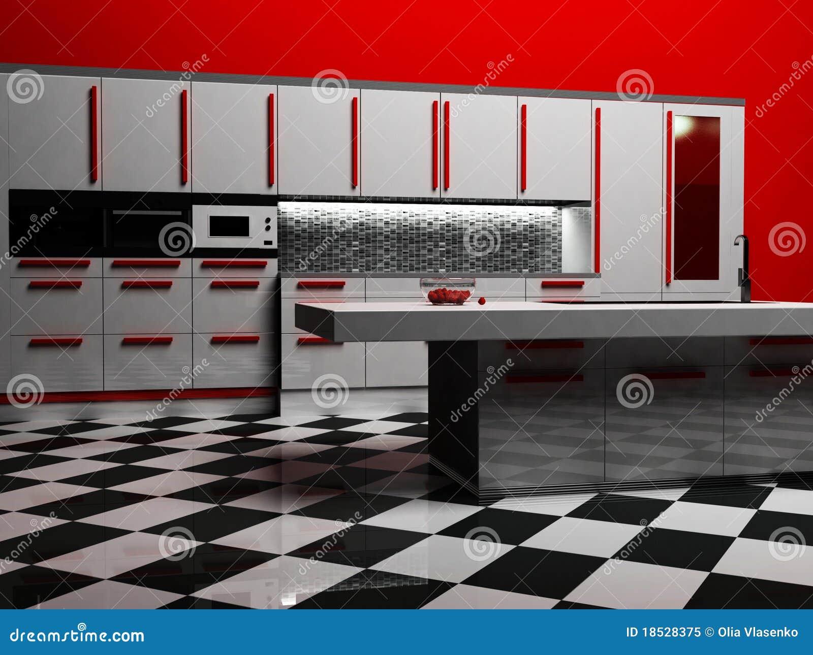 Int rieur moderne de cuisine dans la couleur blanche et for Cuisine moderne dans l ancien