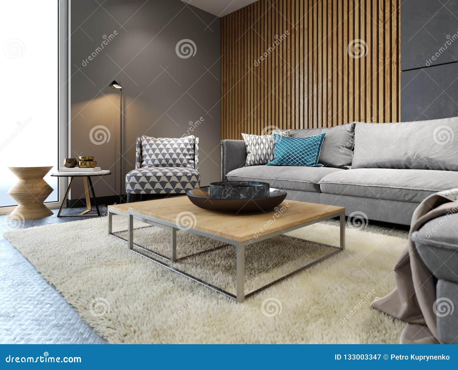 Intérieur Moderne De Grenier De Salon, De Sofa Gris Et D ...