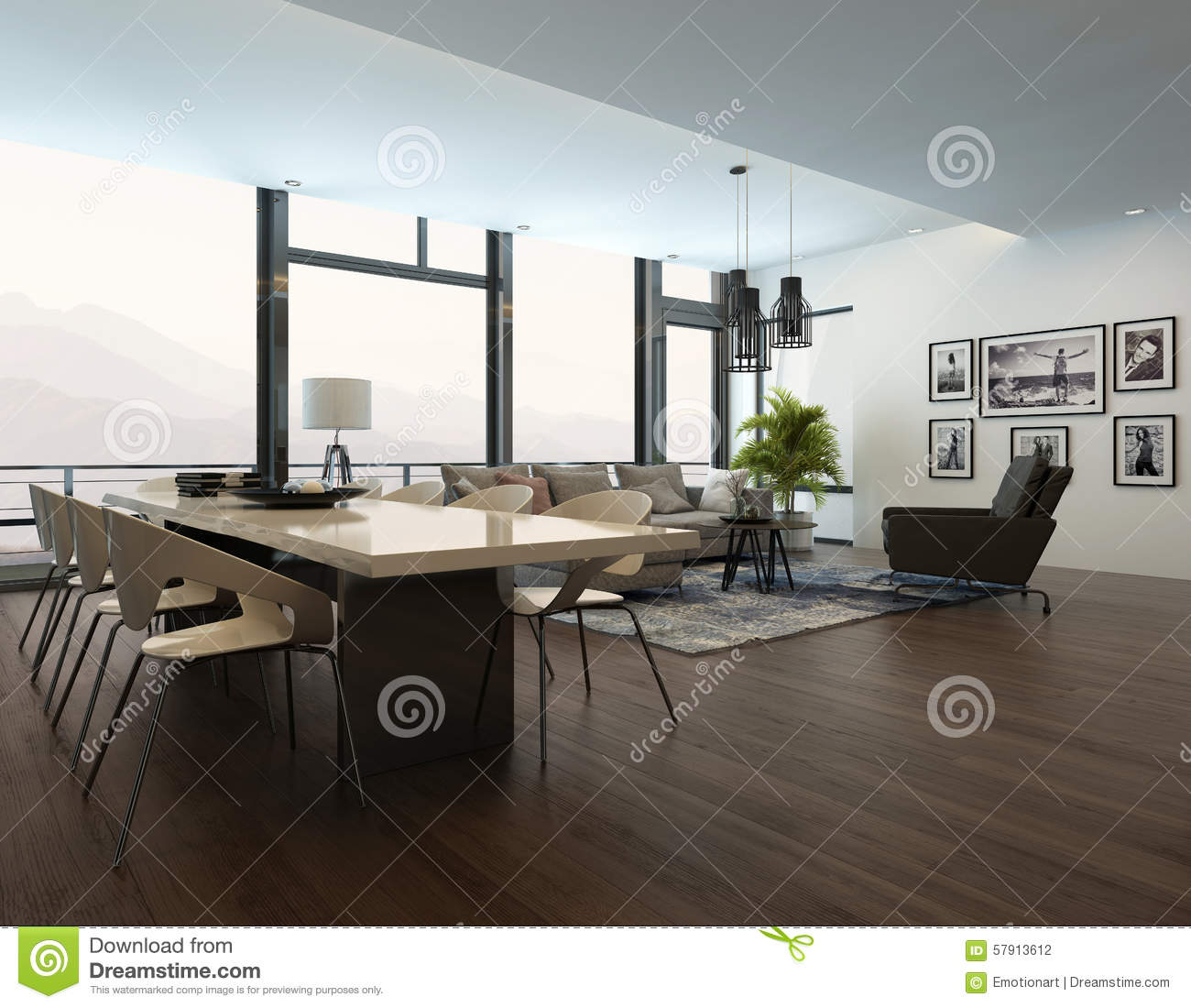 Int rieur moderne de luxe de salon d 39 appartement illustration stock image 57913612 for Salon moderne deluxe