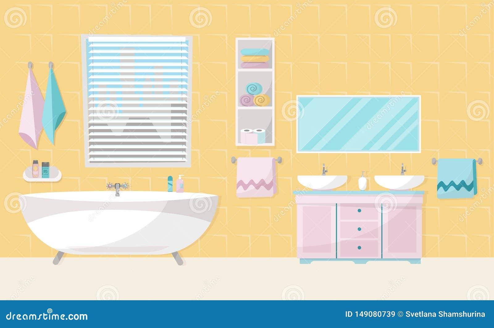 Int?rieur moderne de salle de bains avec le baquet Meubles de salle de bains - bain, support avec deux ?viers, ?tag?re avec des s