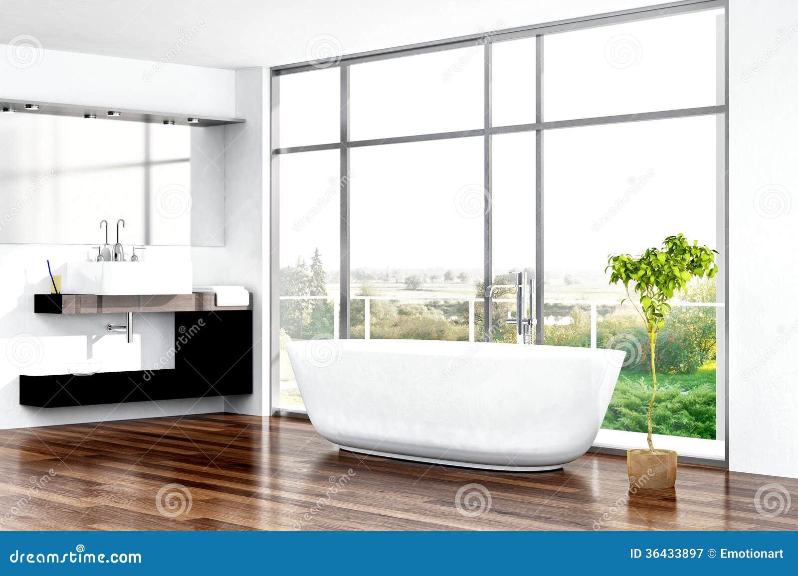 Int rieur moderne de salle de bains avec la baignoire for Salle de bain moderne avec baignoire