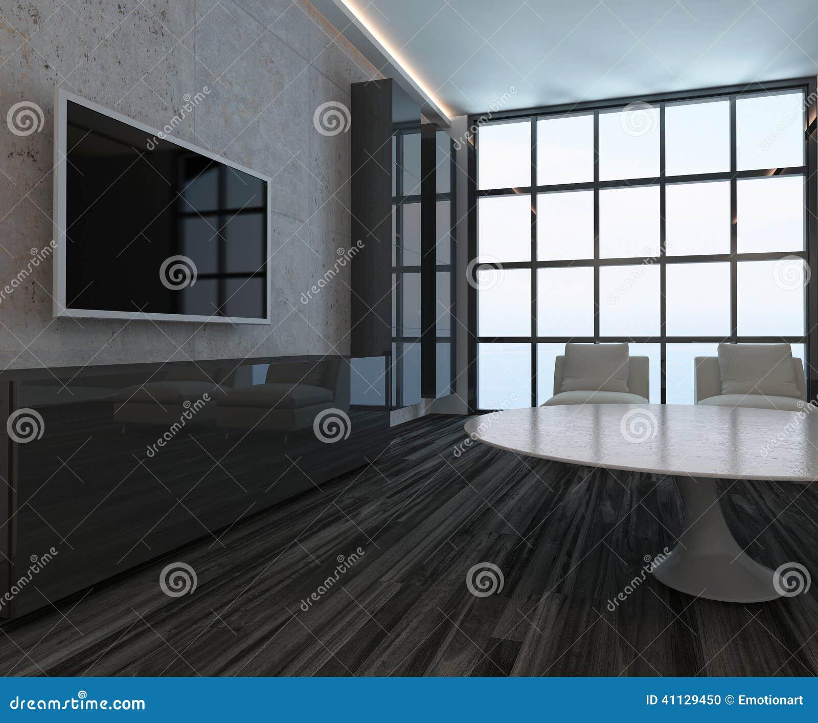 Int rieur moderne de salon avec la fen tre et le plancher for Fenetre noir interieur