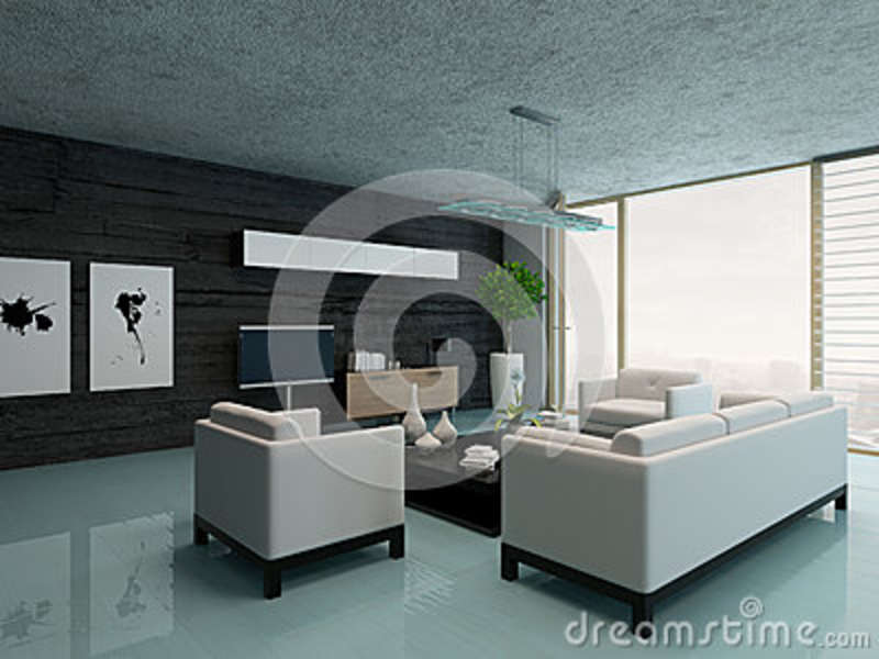 int rieur moderne de salon avec le mur en pierre noir illustration stock illustration du live. Black Bedroom Furniture Sets. Home Design Ideas