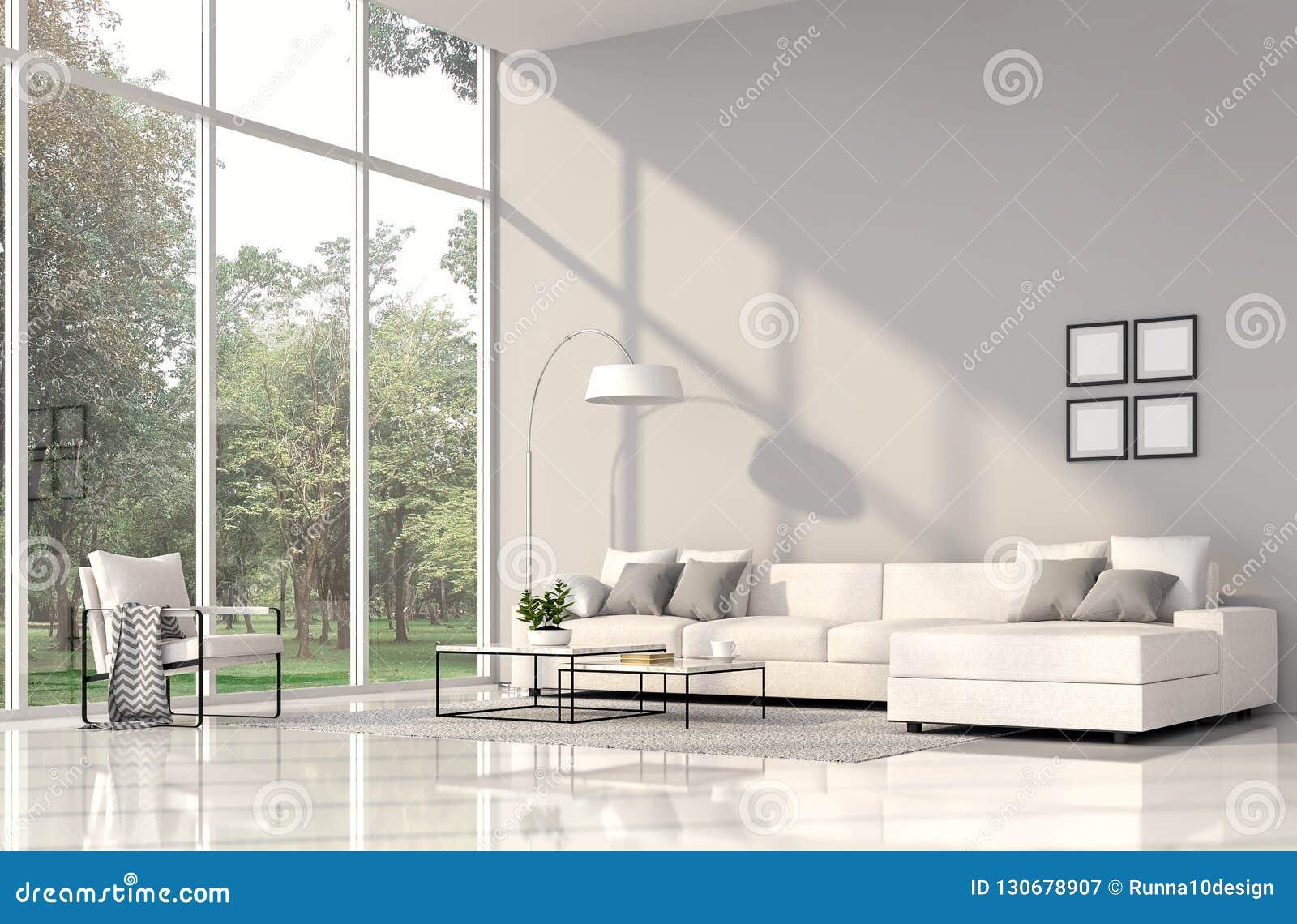 Intérieur Moderne De Salon Avec Le Mur Gris 3d D\'american ...