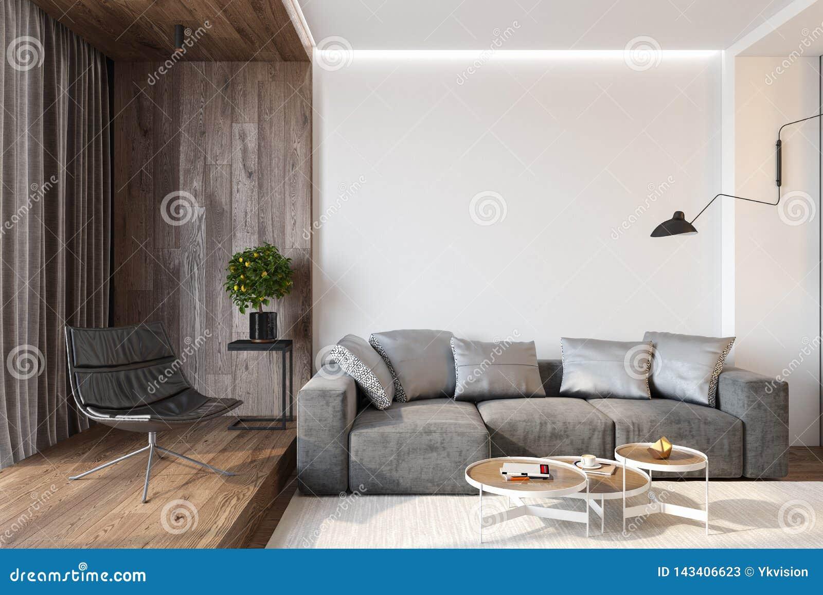 Intérieur moderne de salon avec le mur vide, le sofa, la chaise longue, la table, le mur en bois et le plancher