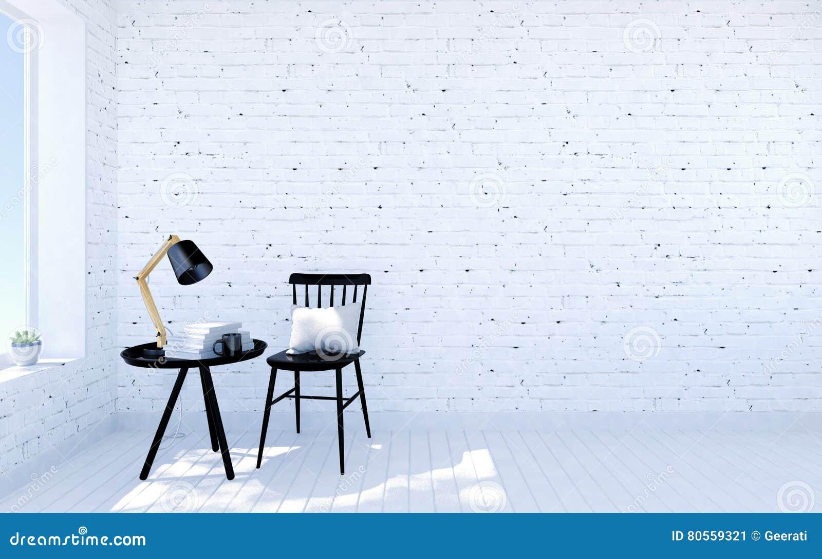 Intérieur Moderne De Salon De Brique Blanche Avec Lespace Vital
