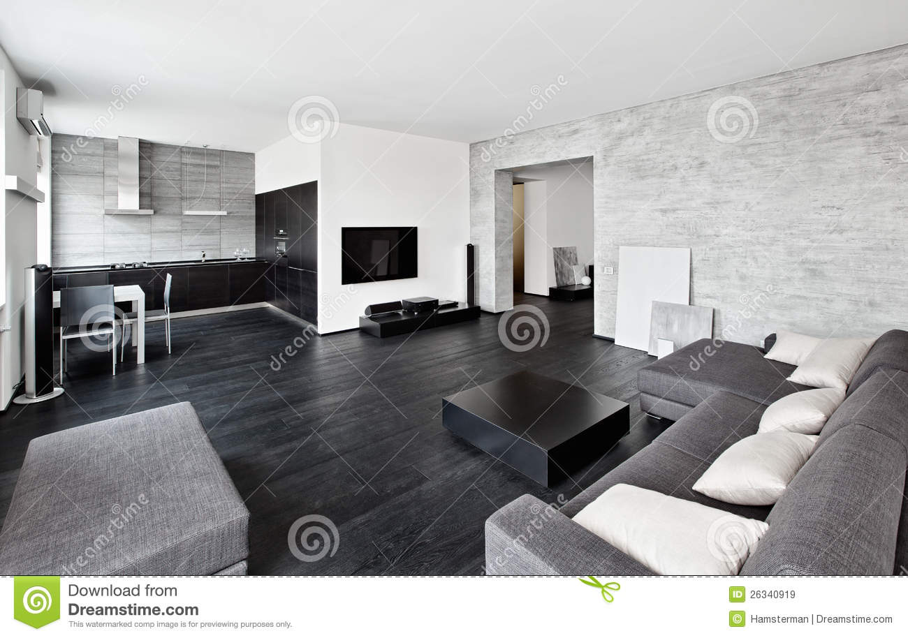 int rieur moderne de salon de type de minimalisme image stock image du confortable noir 26340919. Black Bedroom Furniture Sets. Home Design Ideas