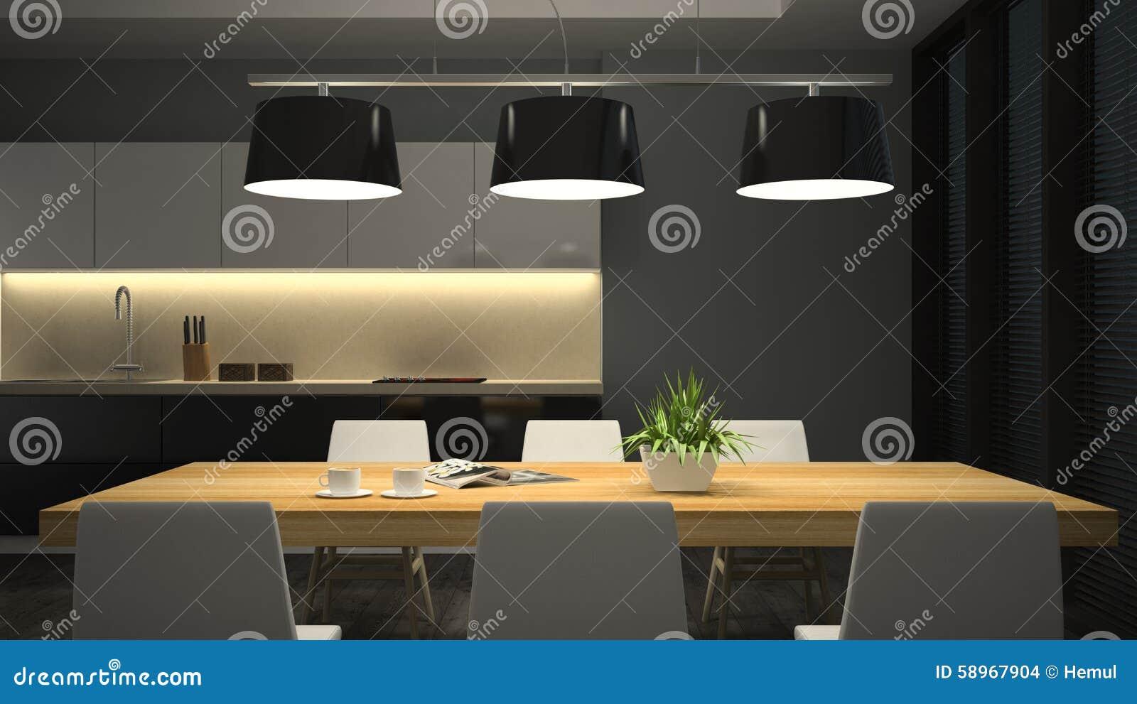 Int rieur moderne de vue de nuit de salle manger for Interieur nuit