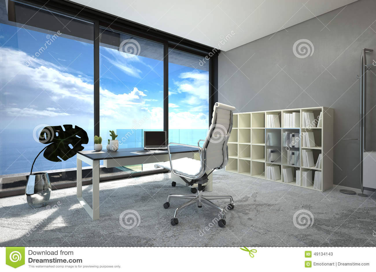 Intérieur moderne lumineux de bureau spacieux illustration stock