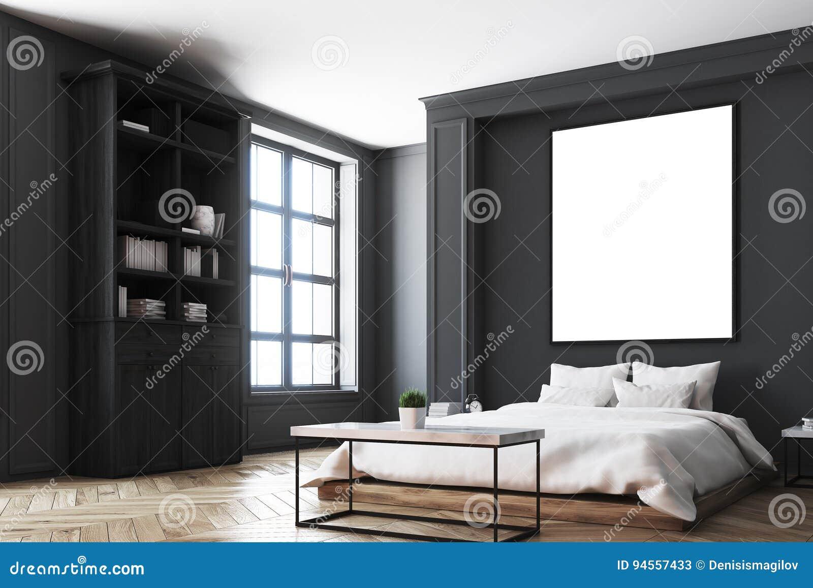 Intérieur Noir De Chambre à Coucher, Coin D\'affiche Illustration ...