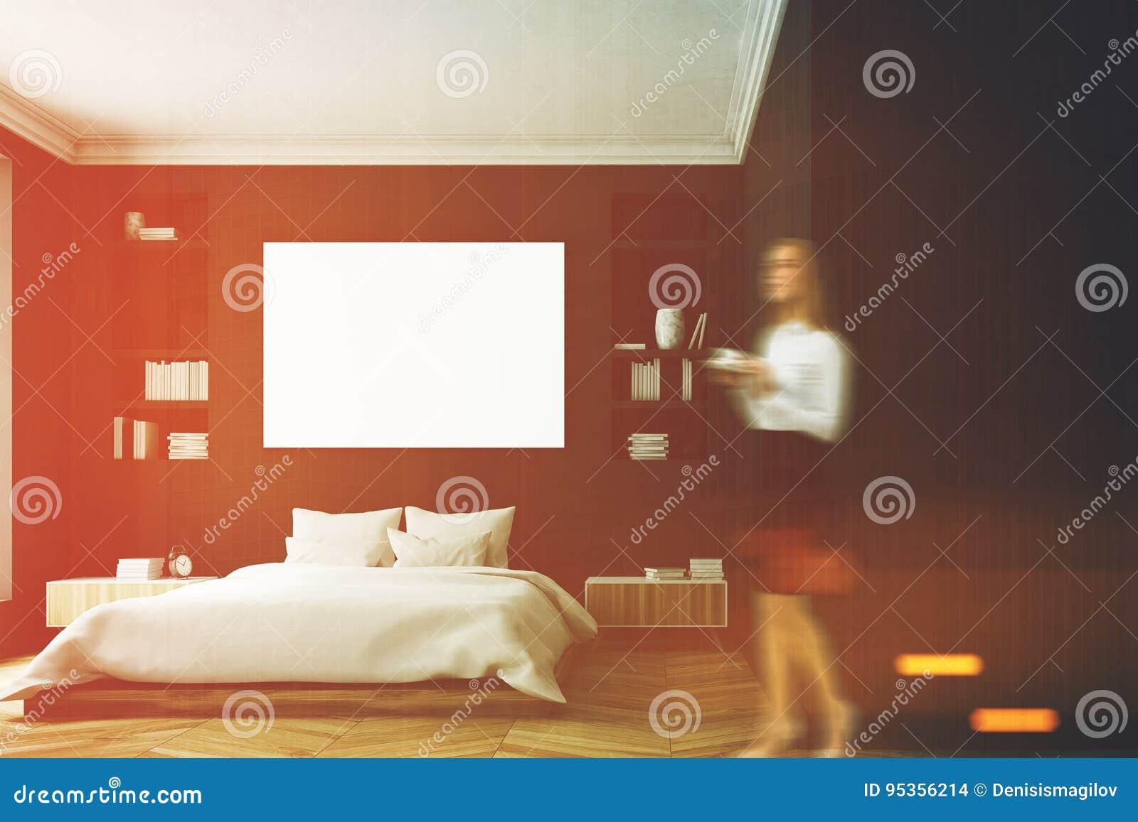 Intérieur Noir De Chambre à Coucher, Femme Illustration Stock ...