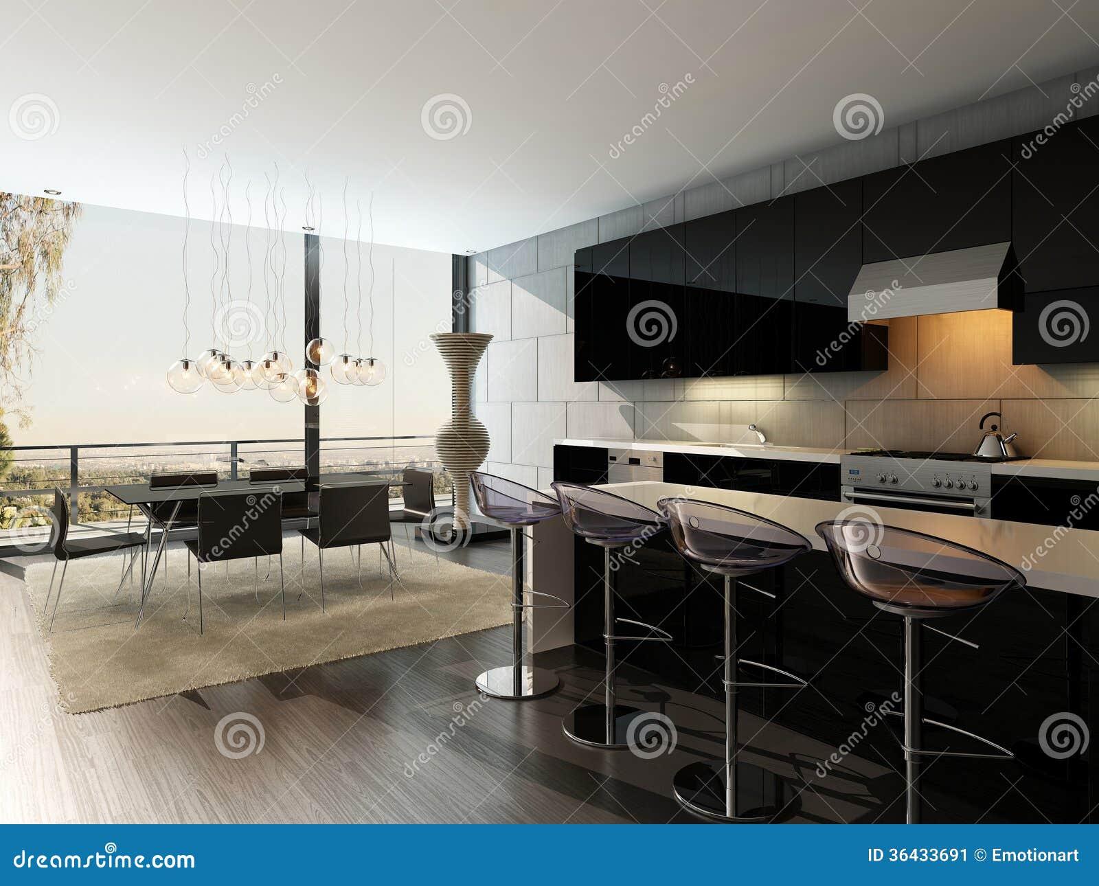 Interieur Noir De Cuisine Avec Les Tabourets De Bar Et La Table De