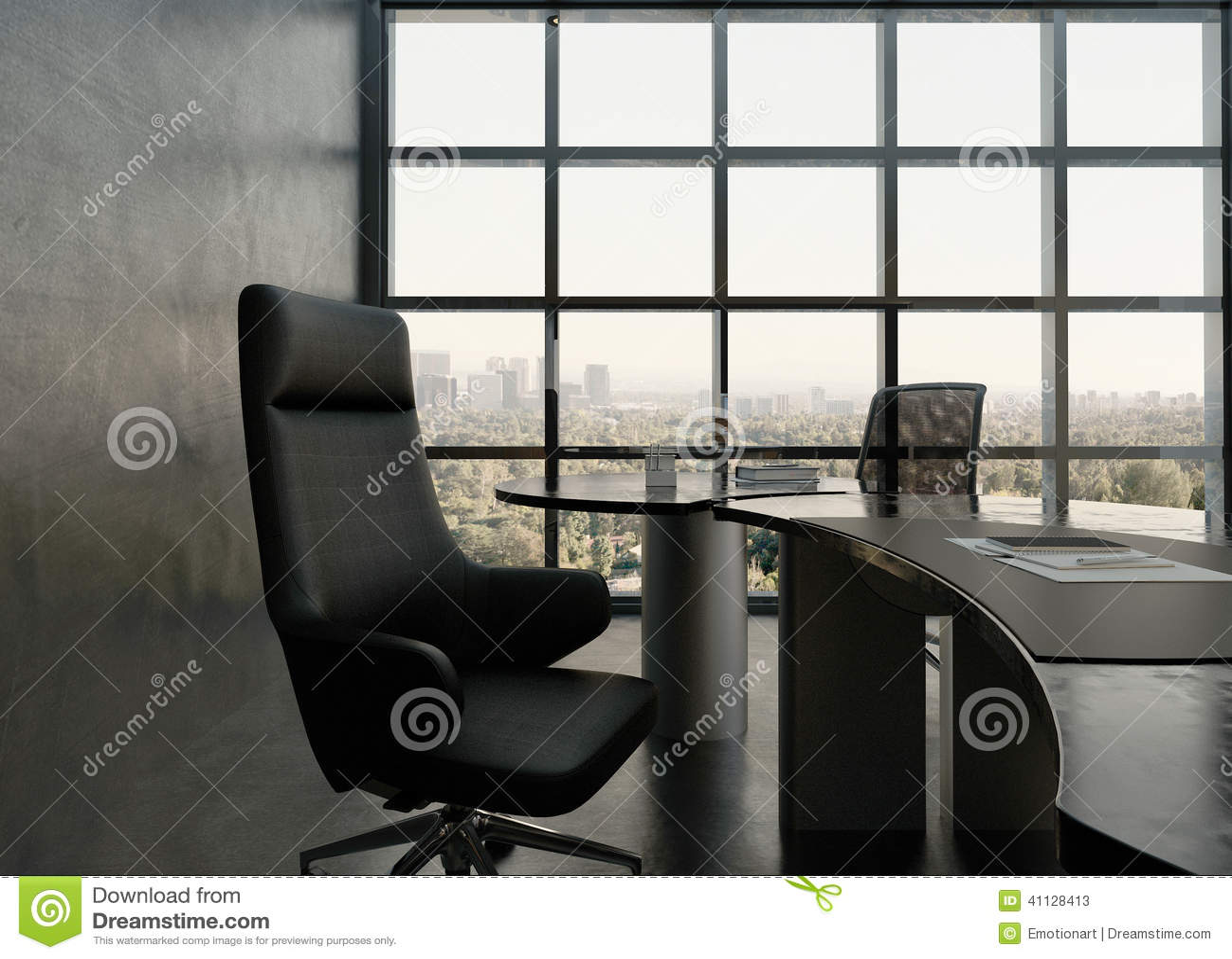 Intérieur noir de pièce de bureau avec le bureau moderne