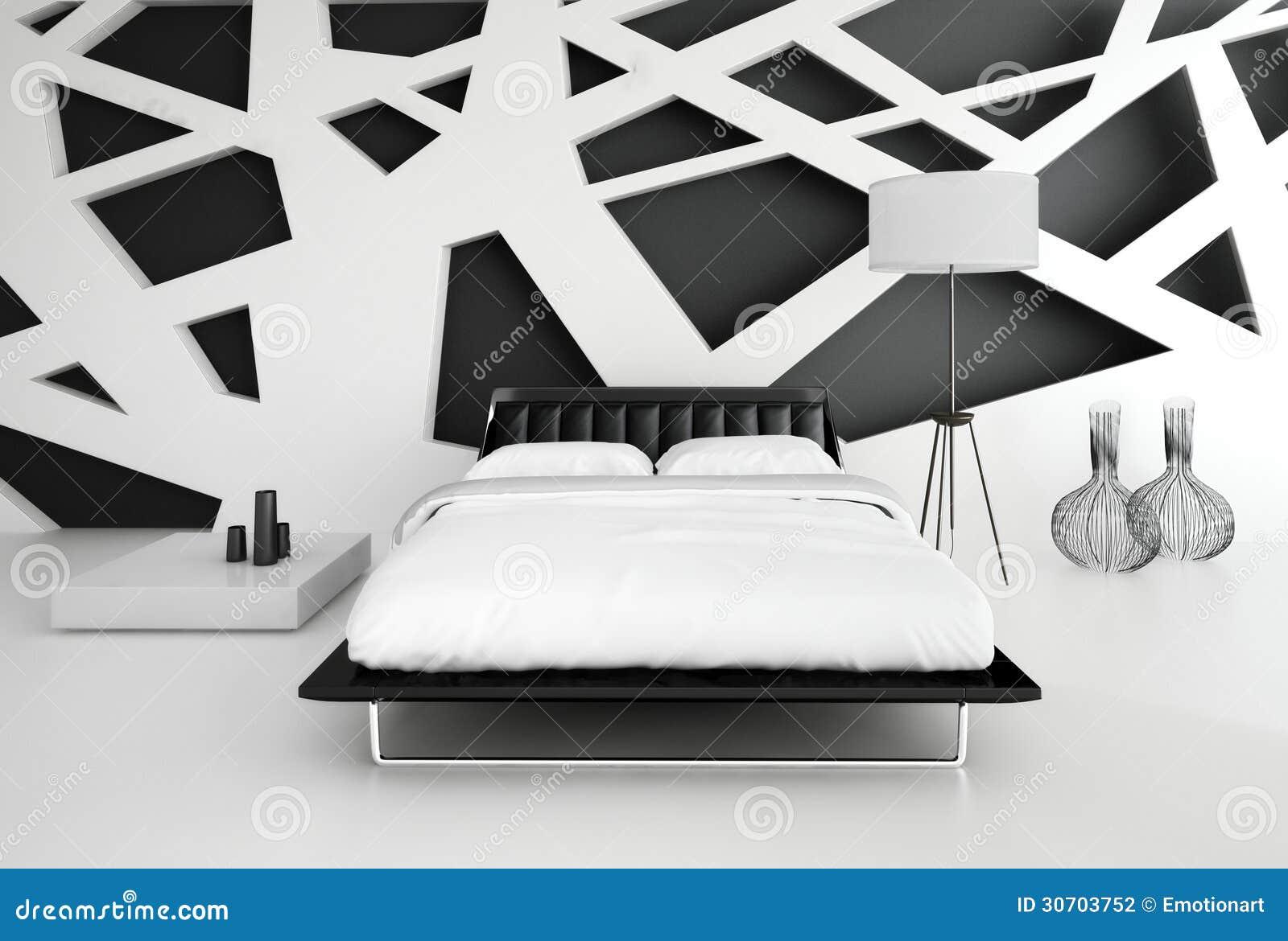 Int rieur noir et blanc moderne de chambre coucher photographie stock image 30703752 for Interieur maison moderne blanc