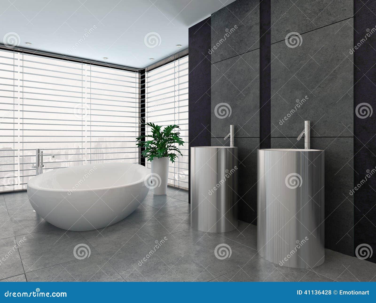 Int rieur noir et blanc moderne de luxe de salle de bains for Salle de bain moderne noir et blanc
