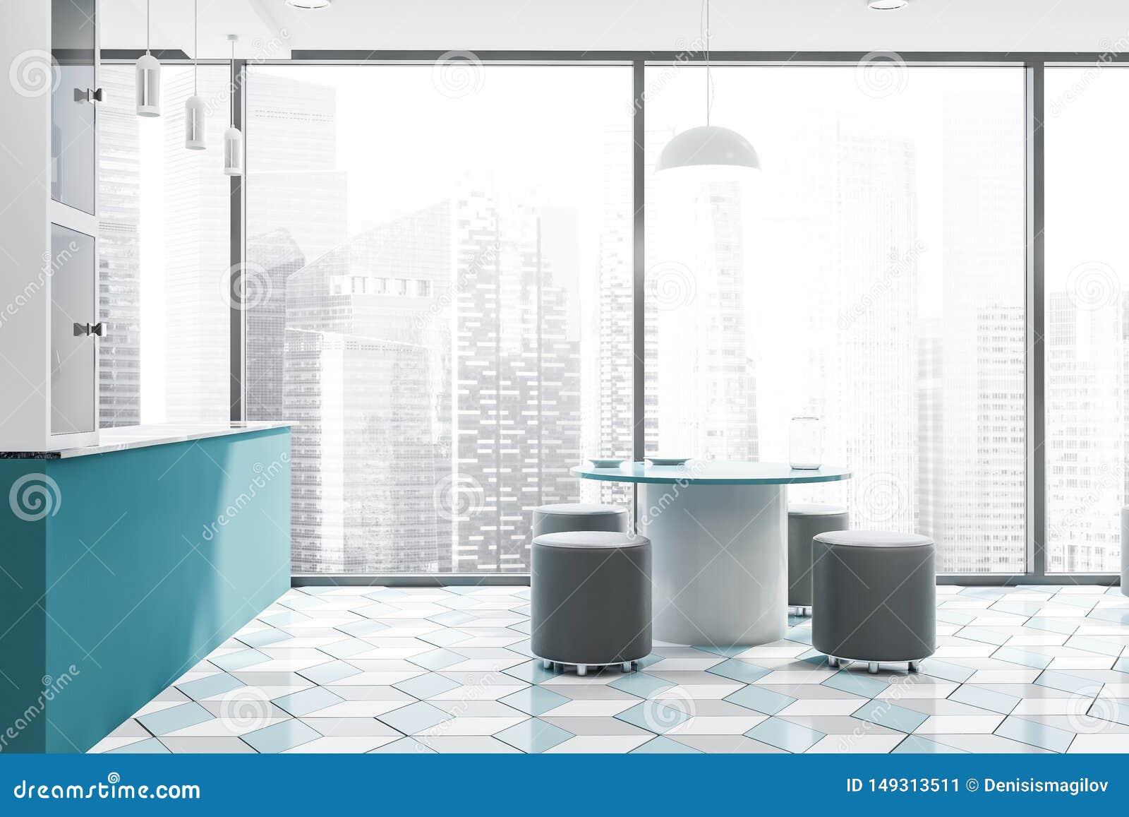Intérieur panoramique de cuisine avec la barre et la table