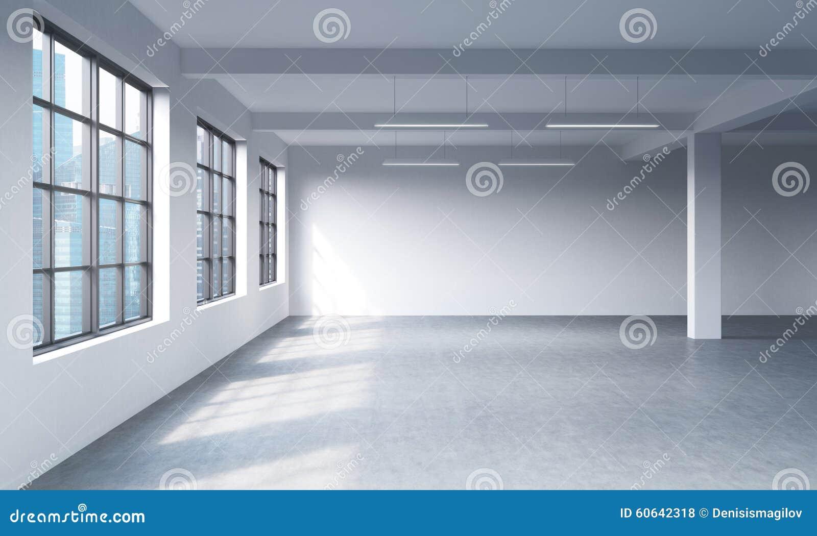 Intérieur propre lumineux moderne d un espace ouvert de style de grenier Fenêtres énormes et murs blancs Vue panoramique de ville