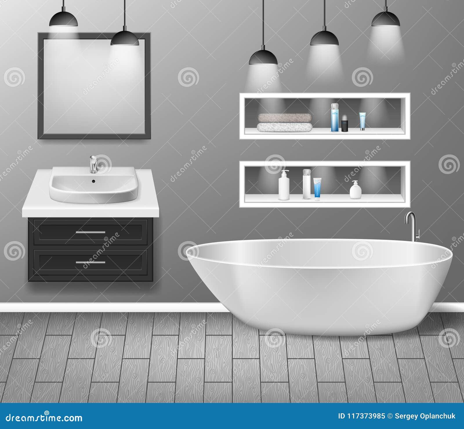 Intérieur réaliste de meubles de salle de bains avec les éléments modernes d évier, de miroir, d étagères, de baignoire et de déc