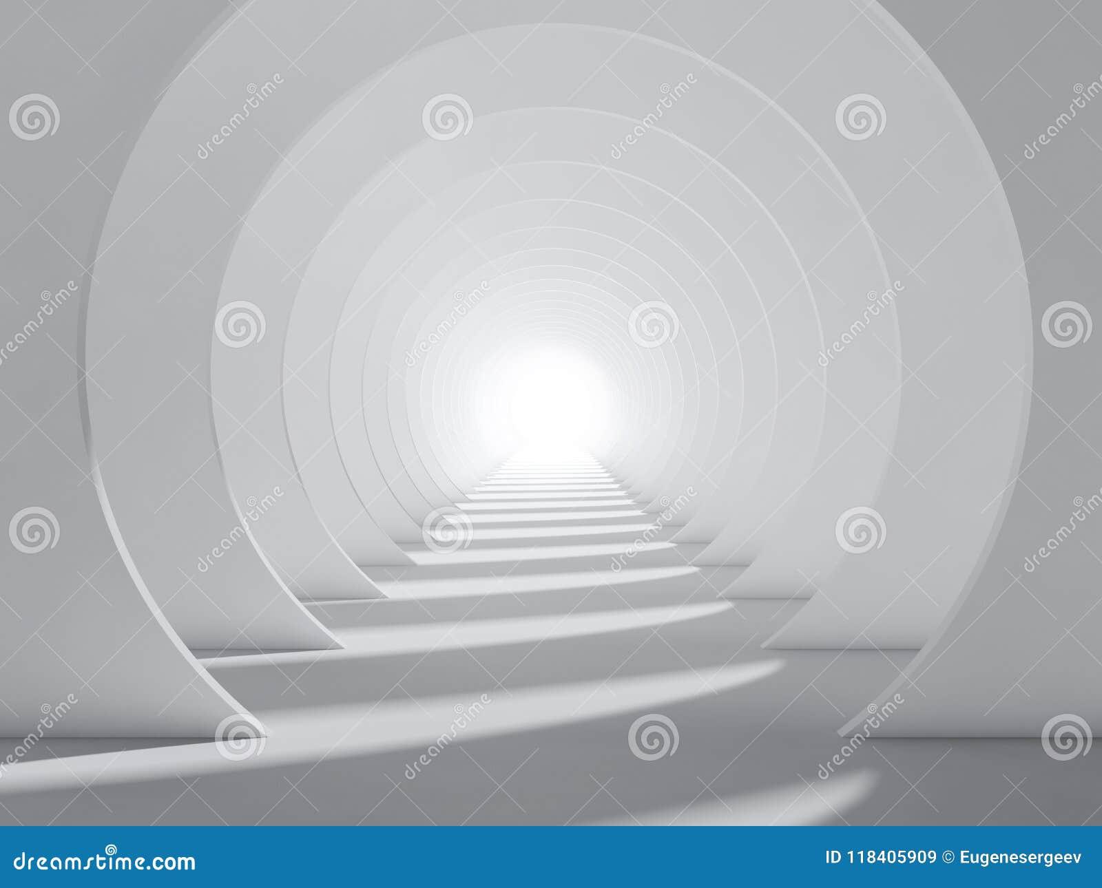 Intérieur rond abstrait de tunnel du blanc 3d