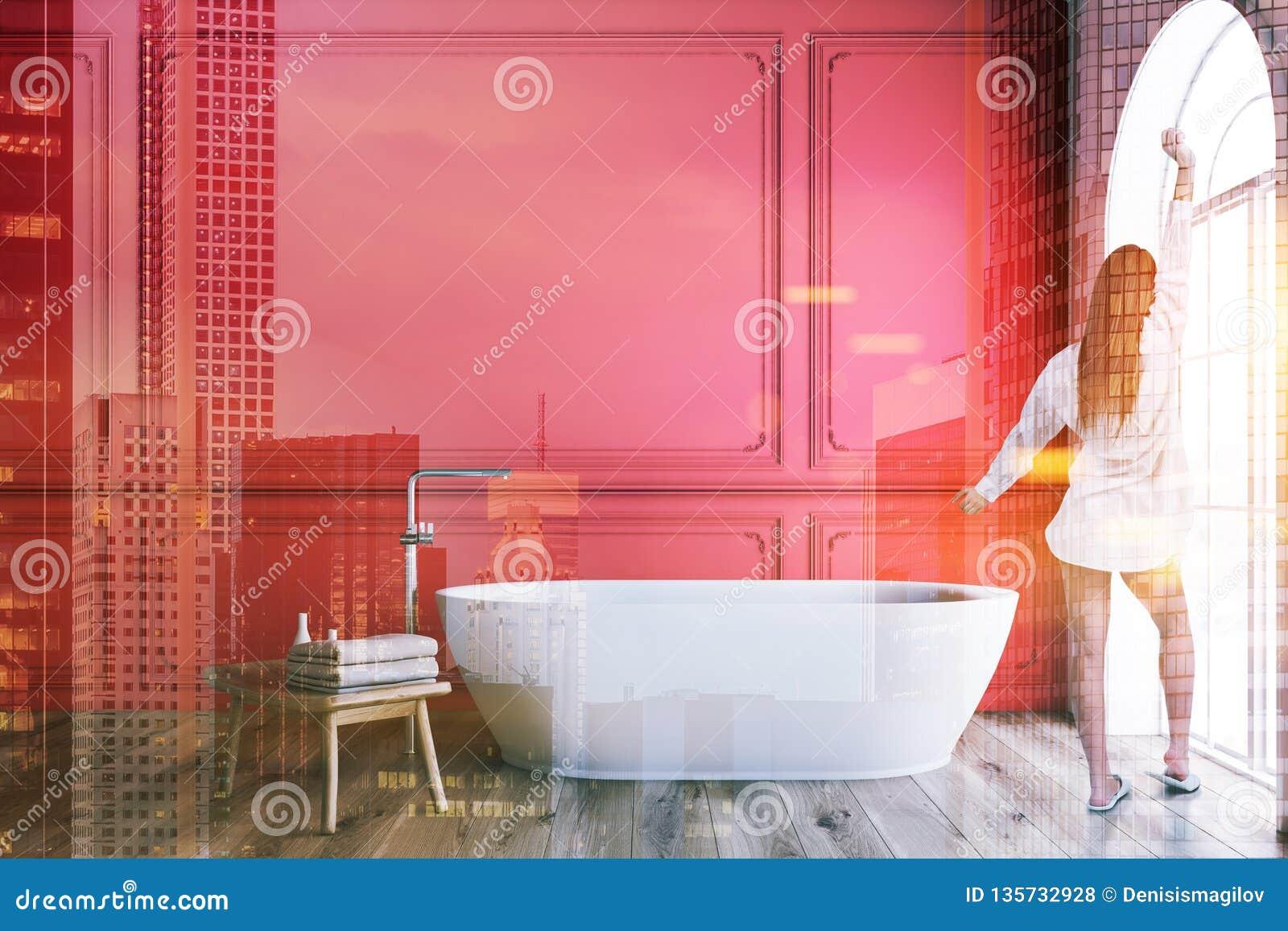 Salle De Bain Rouge Et Blanc intérieur rouge et blanc de salle de bains, baquet, femme