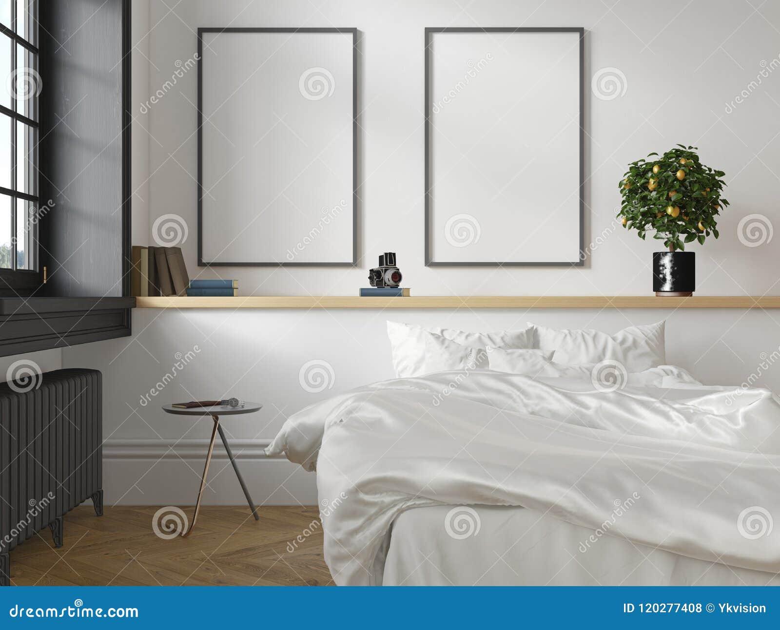 Intérieur scandinave classique blanc de chambre à coucher de grenier 3d rendent la moquerie d illustration