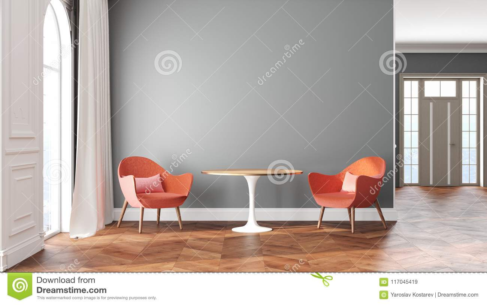Intérieur scandinave de pièce vide avec les murs gris, le rouge, les fauteuils roses, la table, le rideau et la fenêtre