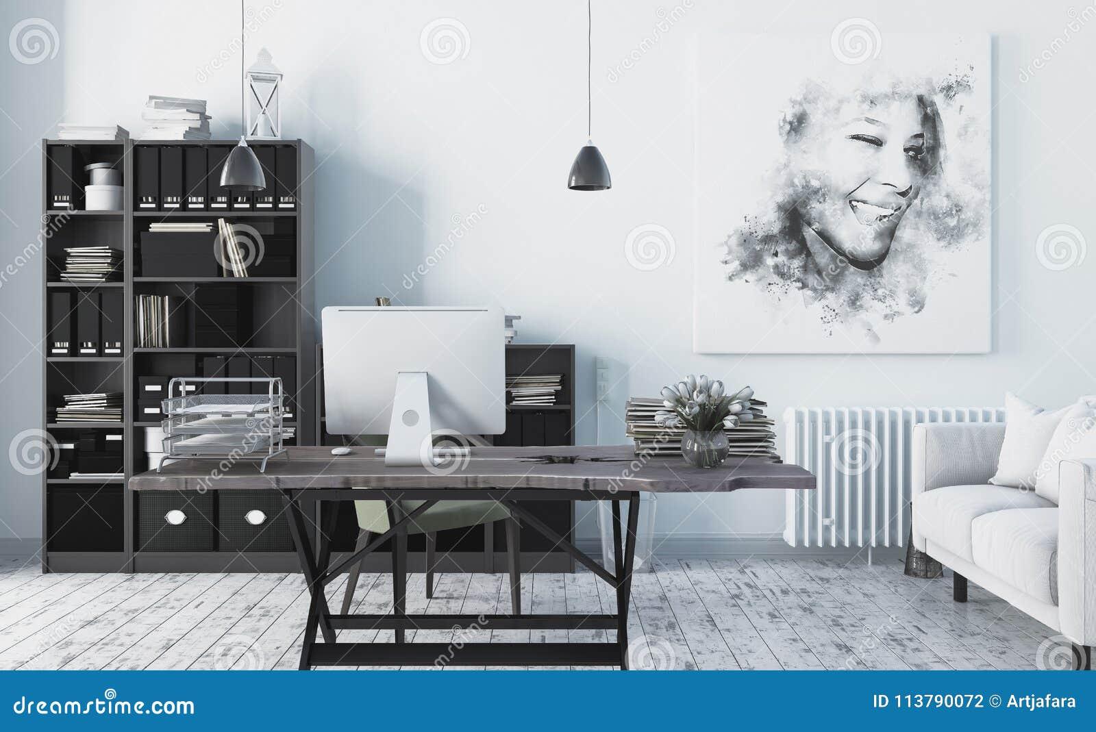 Intérieur scandinave moderne de bureau de style d rendent