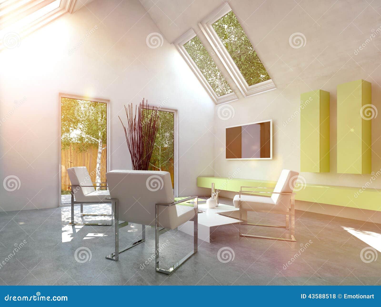Int rieur simple moderne de salon de cottage illustration for Salon cottage