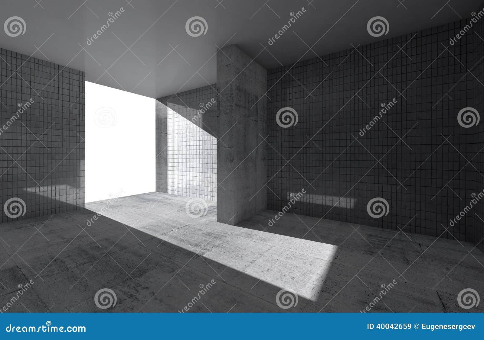 Int rieur vide abstrait de pi ce avec le plancher en b ton for Le vide interieur