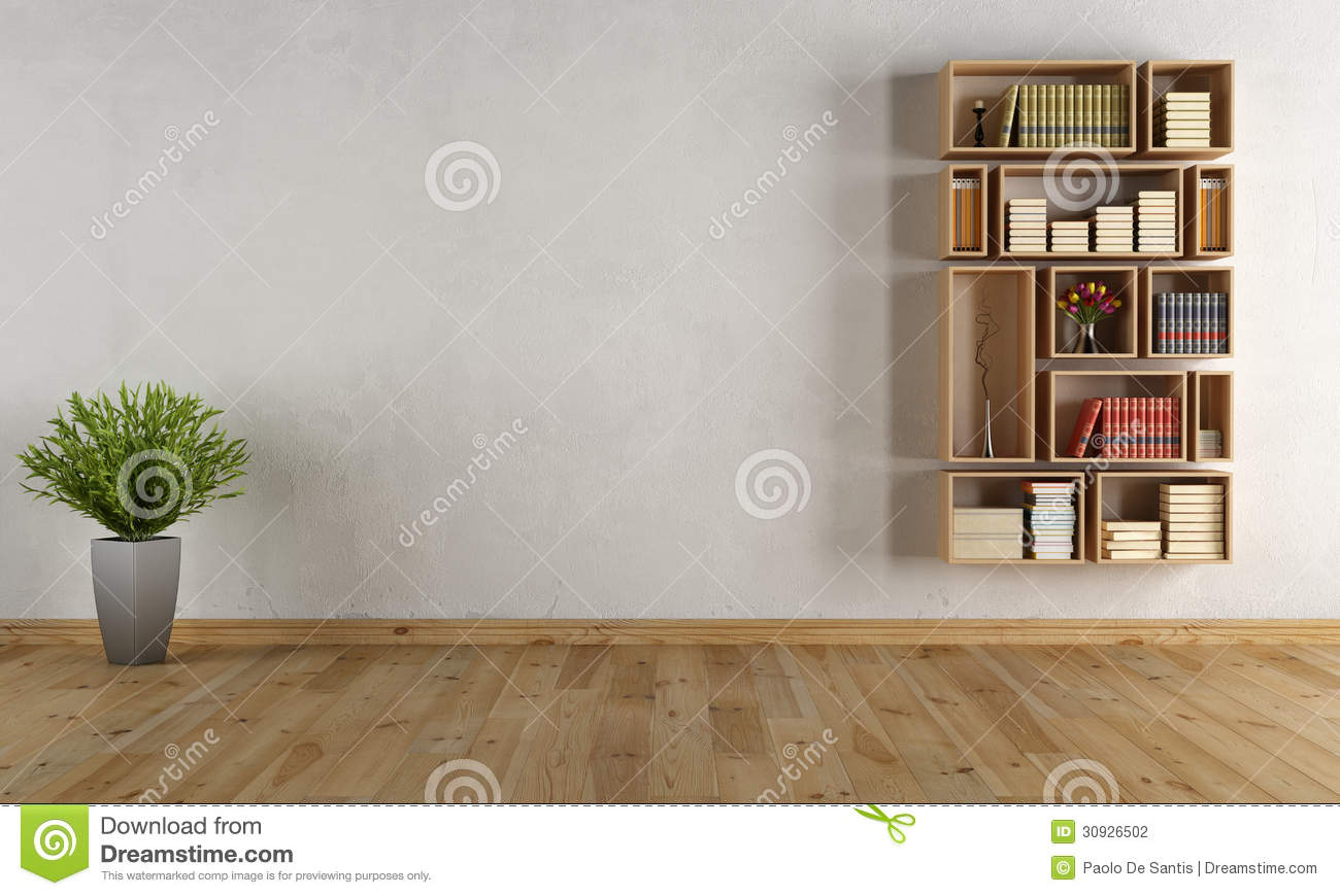int rieur vide avec la biblioth que de mur illustration stock image 30926502. Black Bedroom Furniture Sets. Home Design Ideas