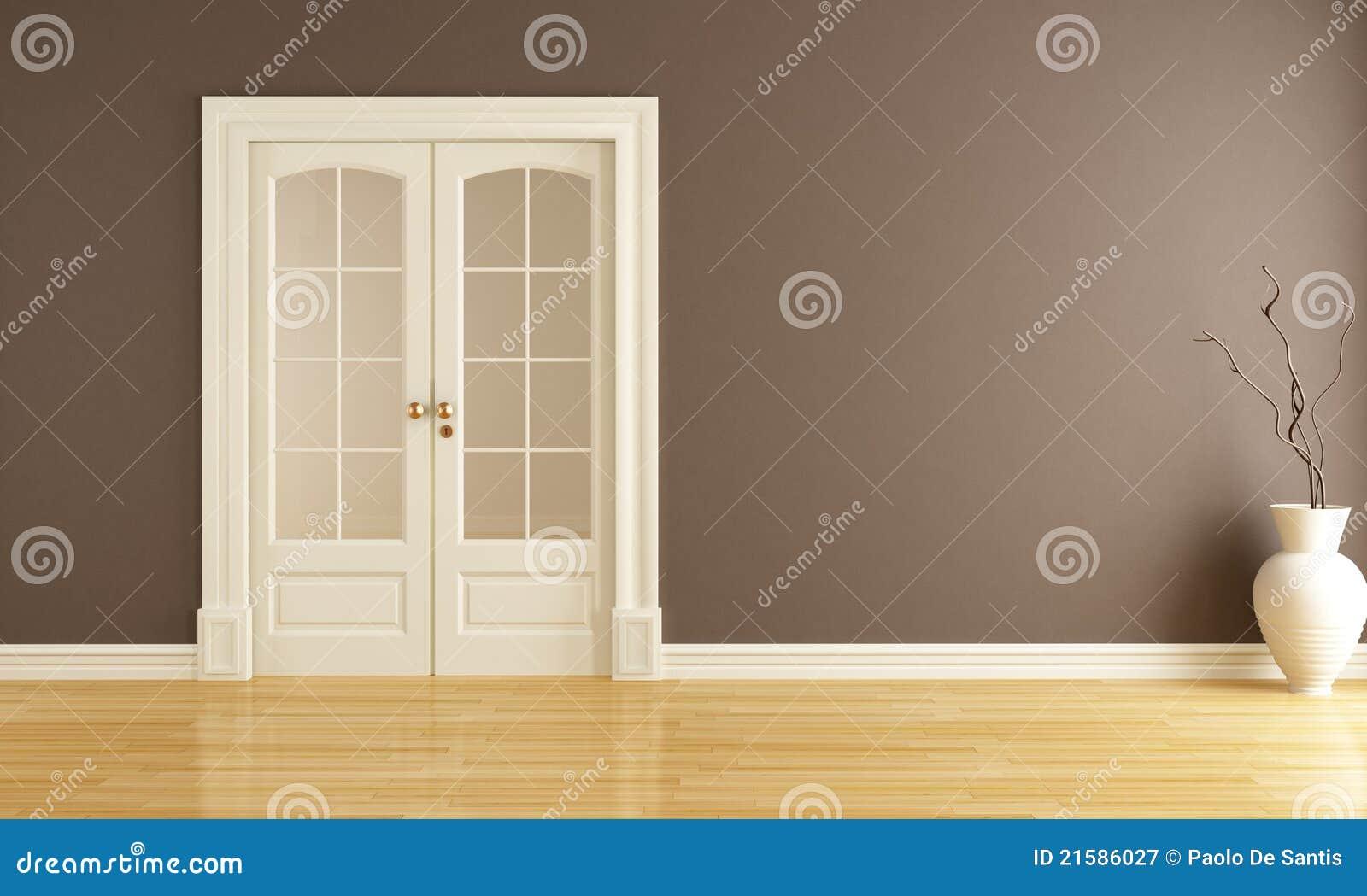 Int rieur vide avec la porte coulissante photographie for Porte classique interieur