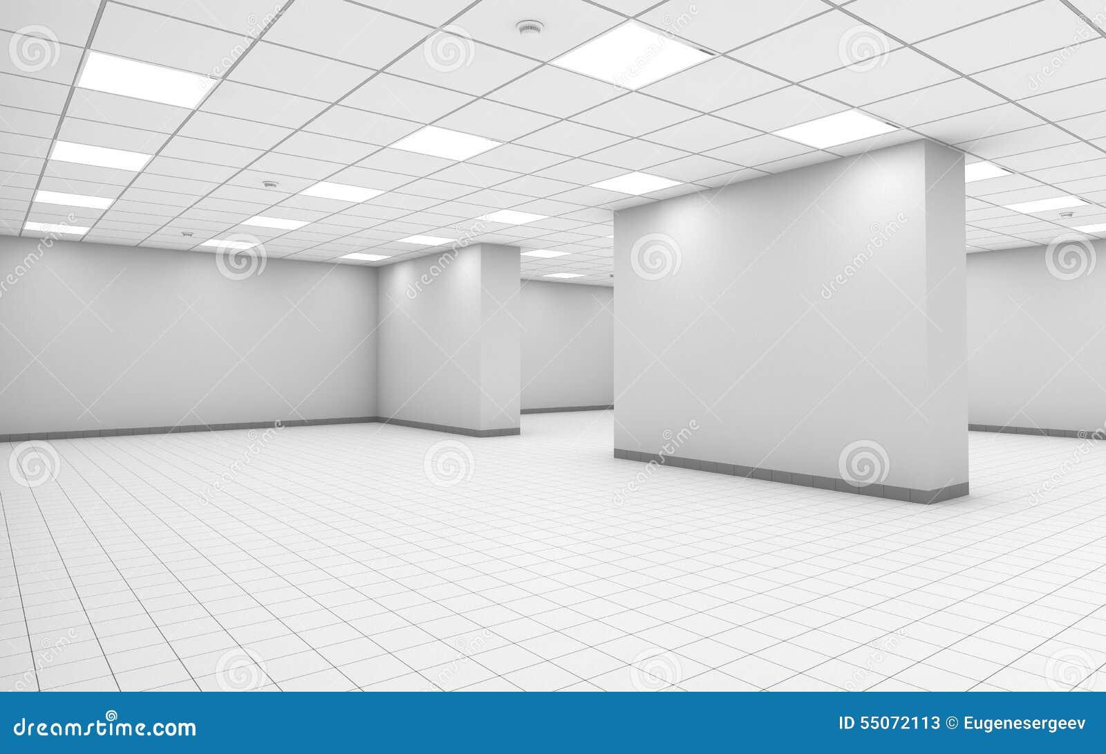 Int rieur vide blanc abstrait de pi ce de bureau avec la for Colonne bureau