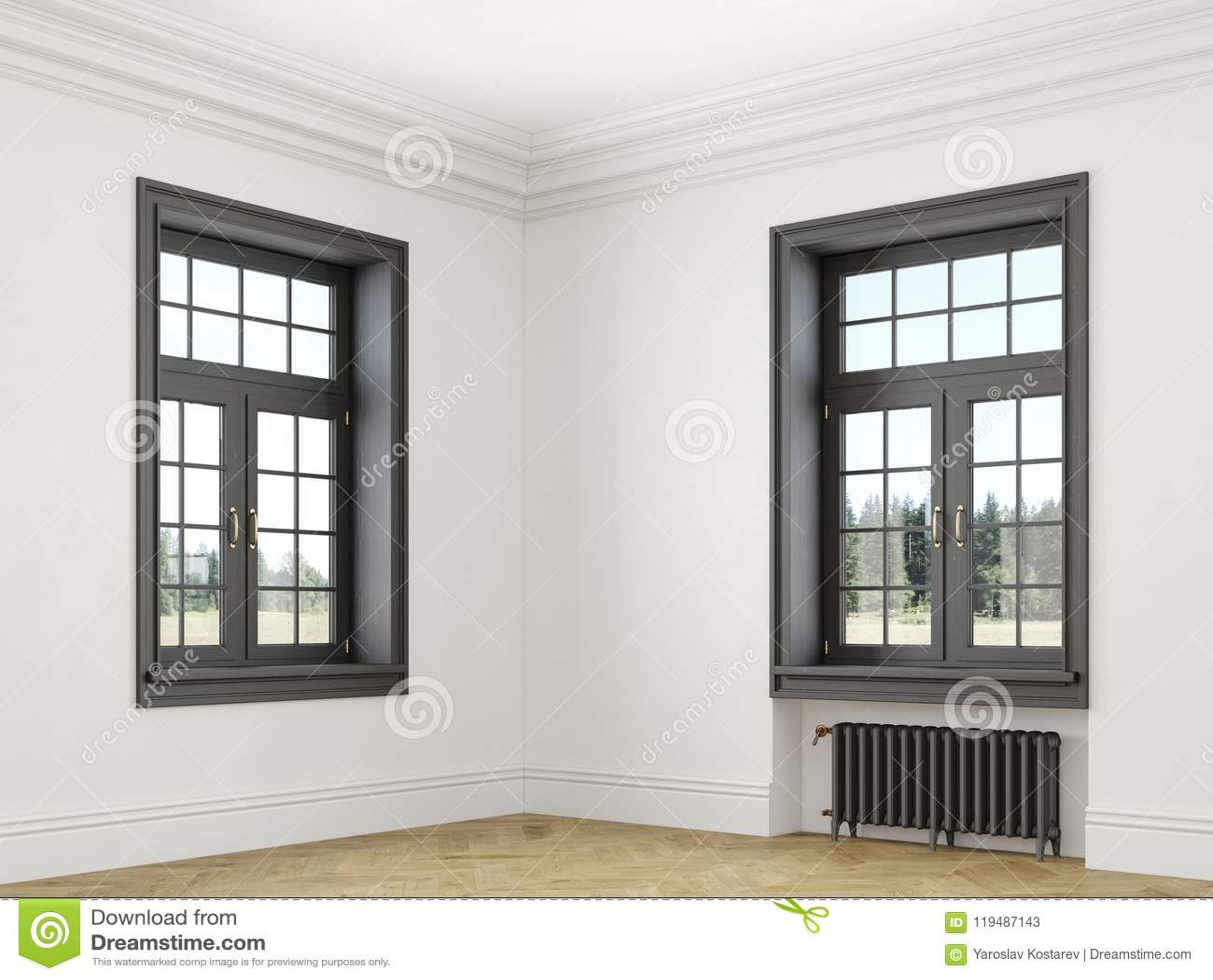Intérieur Vide Blanc Scandinave Classique Avec Les Fenêtres Le