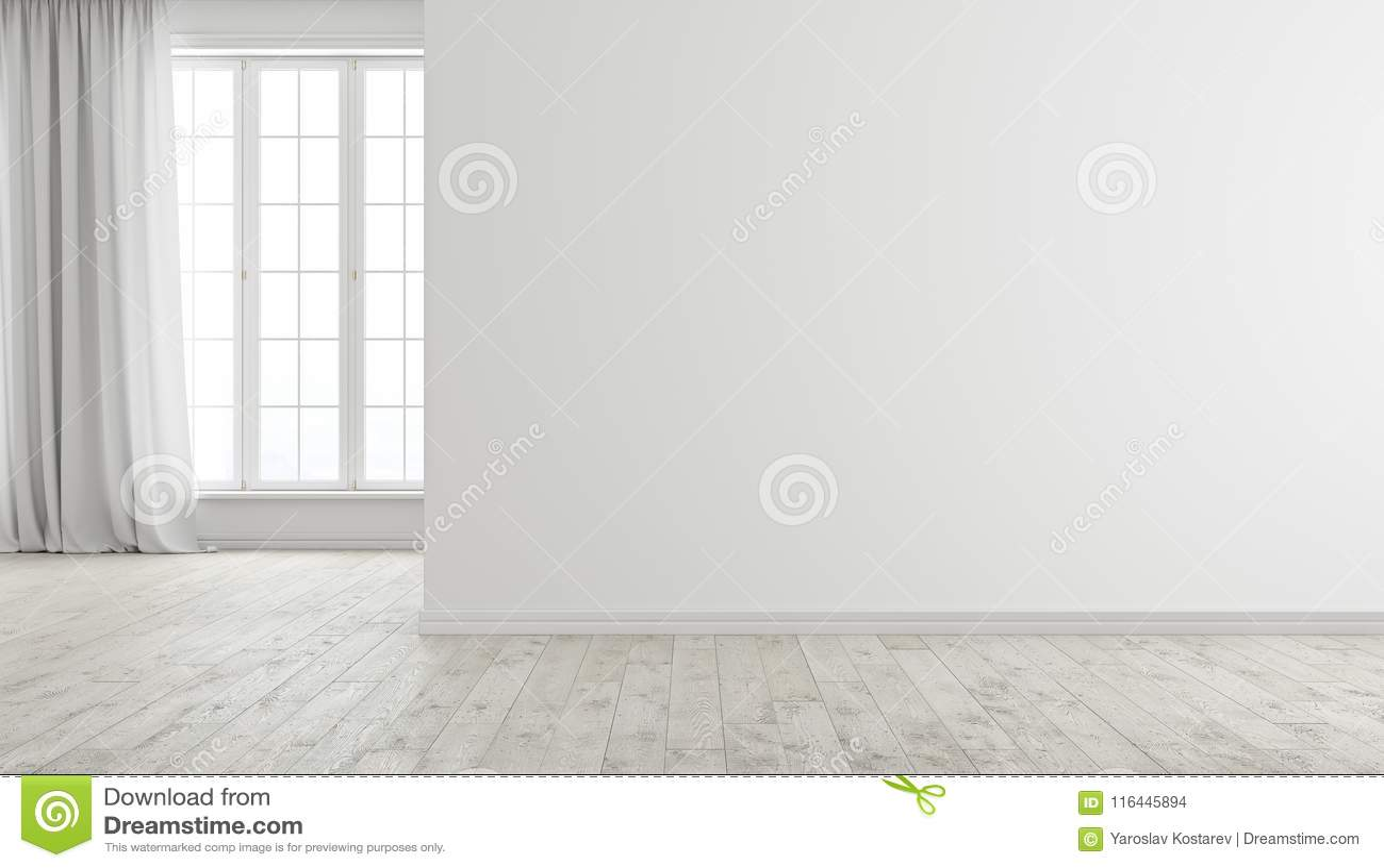 Intérieur vide lumineux moderne blanc de pièce avec la fenêtre, le plancher en bois et le rideau