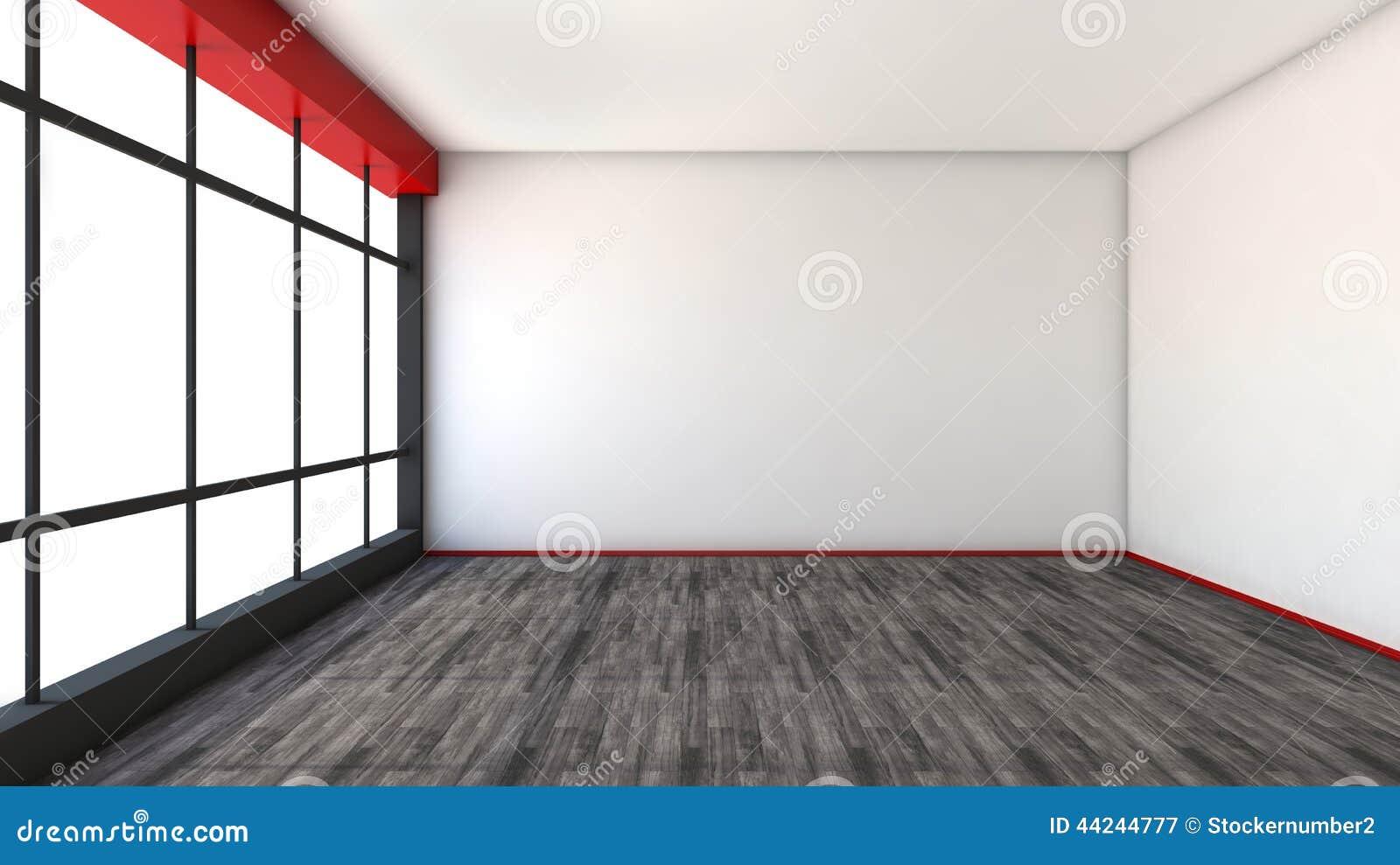 Int rieur vide rouge avec la grande fen tre illustration for Interieur rouge