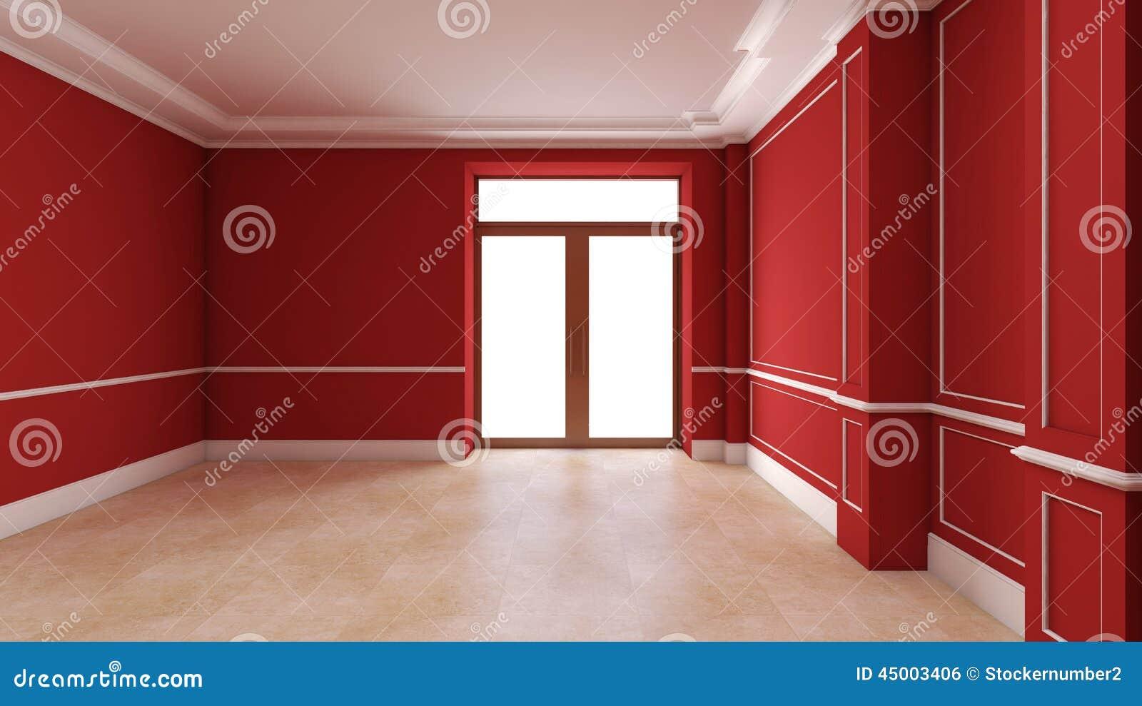 Int rieur vide rouge avec la porte illustration stock for Interieur rouge
