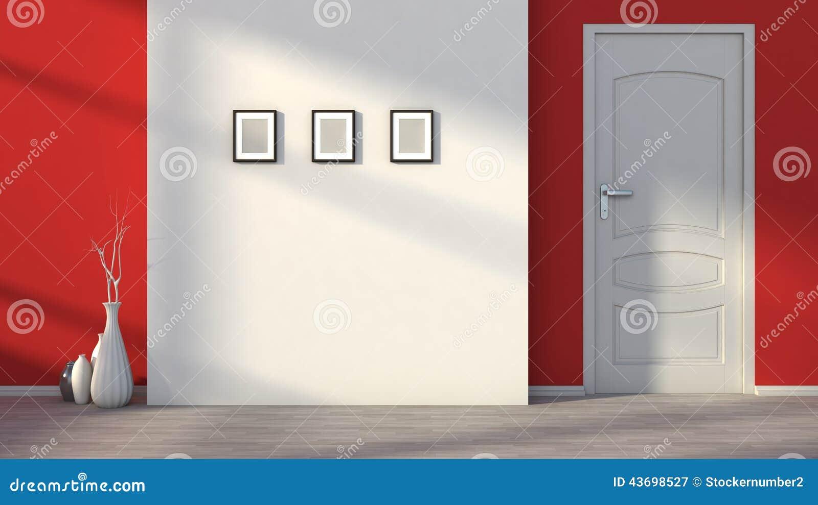 Int rieur vide rouge avec une porte blanche for Interieur rouge