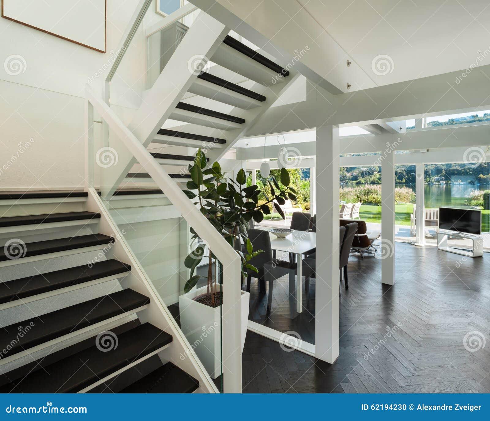 Escalier Interieur Maison Moderne intérieur, vue de salon d'escalier photo stock - image du