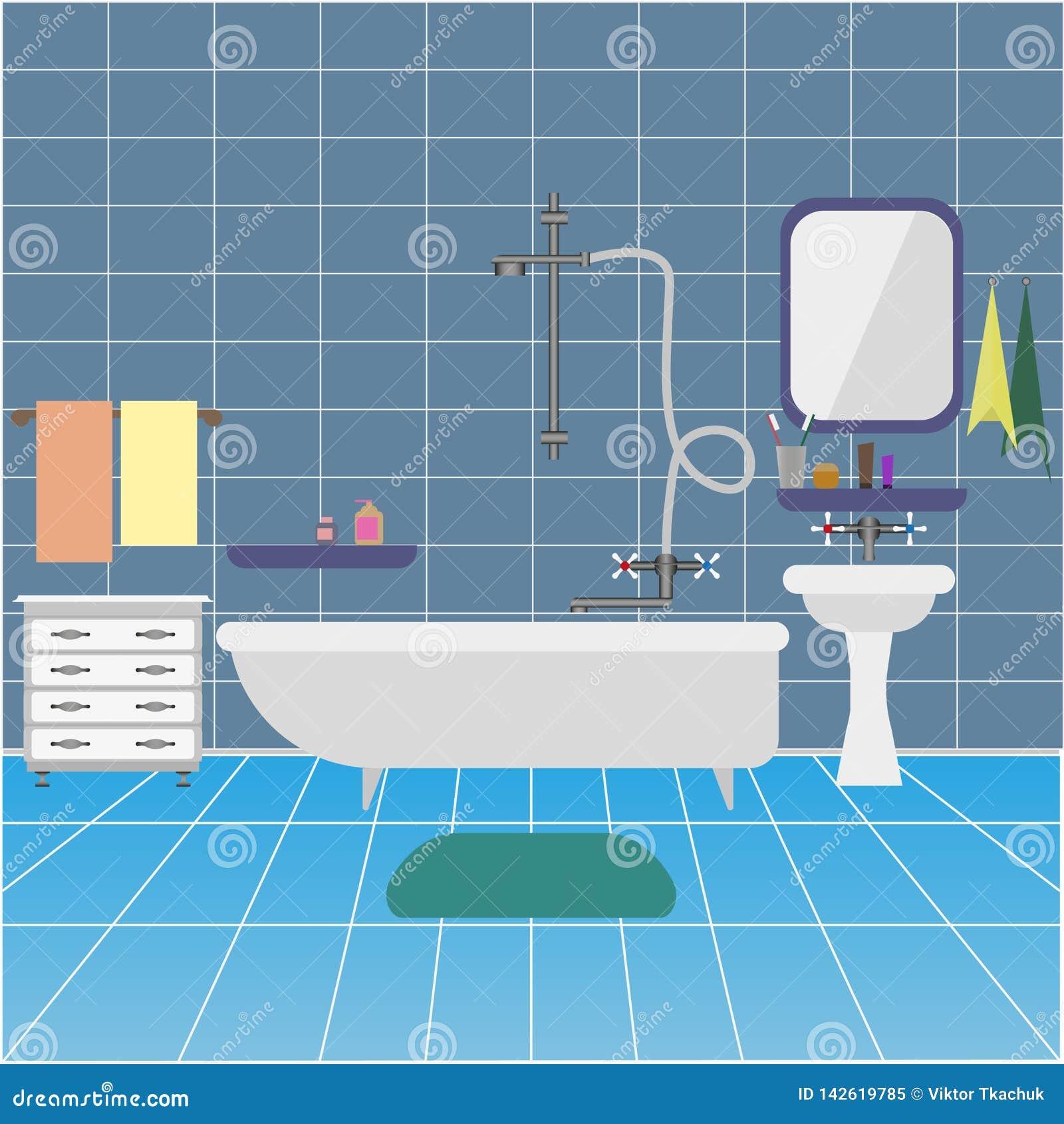 Int?rieur de salle de bains avec le bassin et le miroir Fond