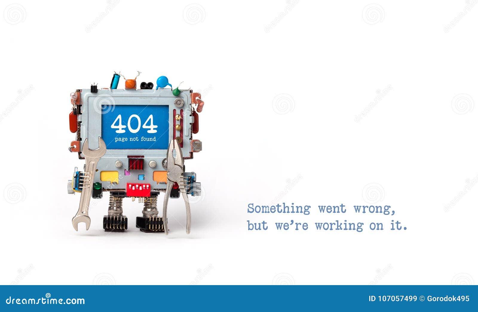 Inte-funnen sida för 404 fel Faktotumrobot med handskiftnyckelplattång på vit bakgrund Textmeddelandet något gick fel