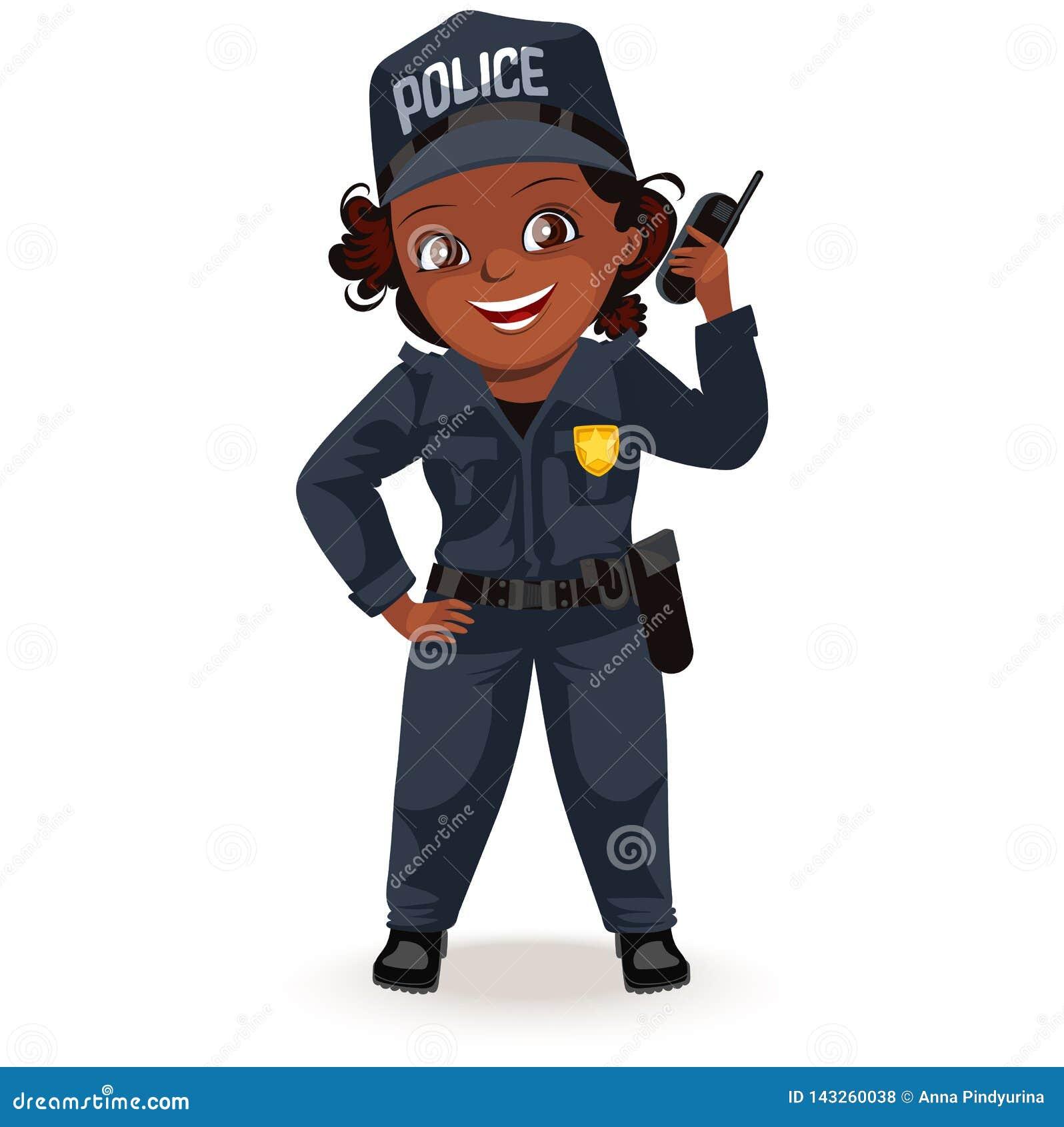 Inte kvinnliga yrken, stark kvinnapolislikformig med innehavradiouppsättningen, secutiry flicka för säkerhet, feminister