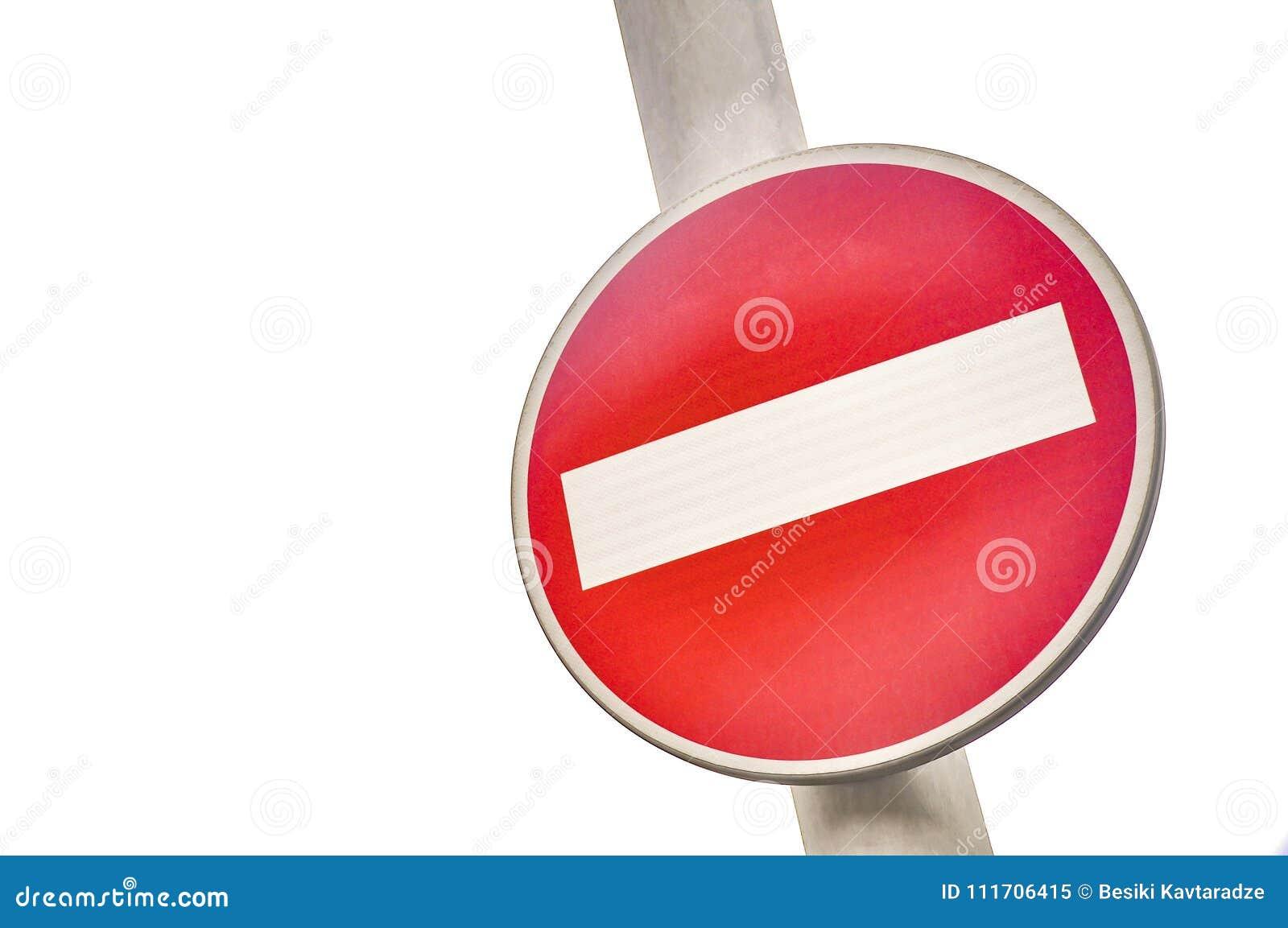 INTE röd och vit trafikvägvisare