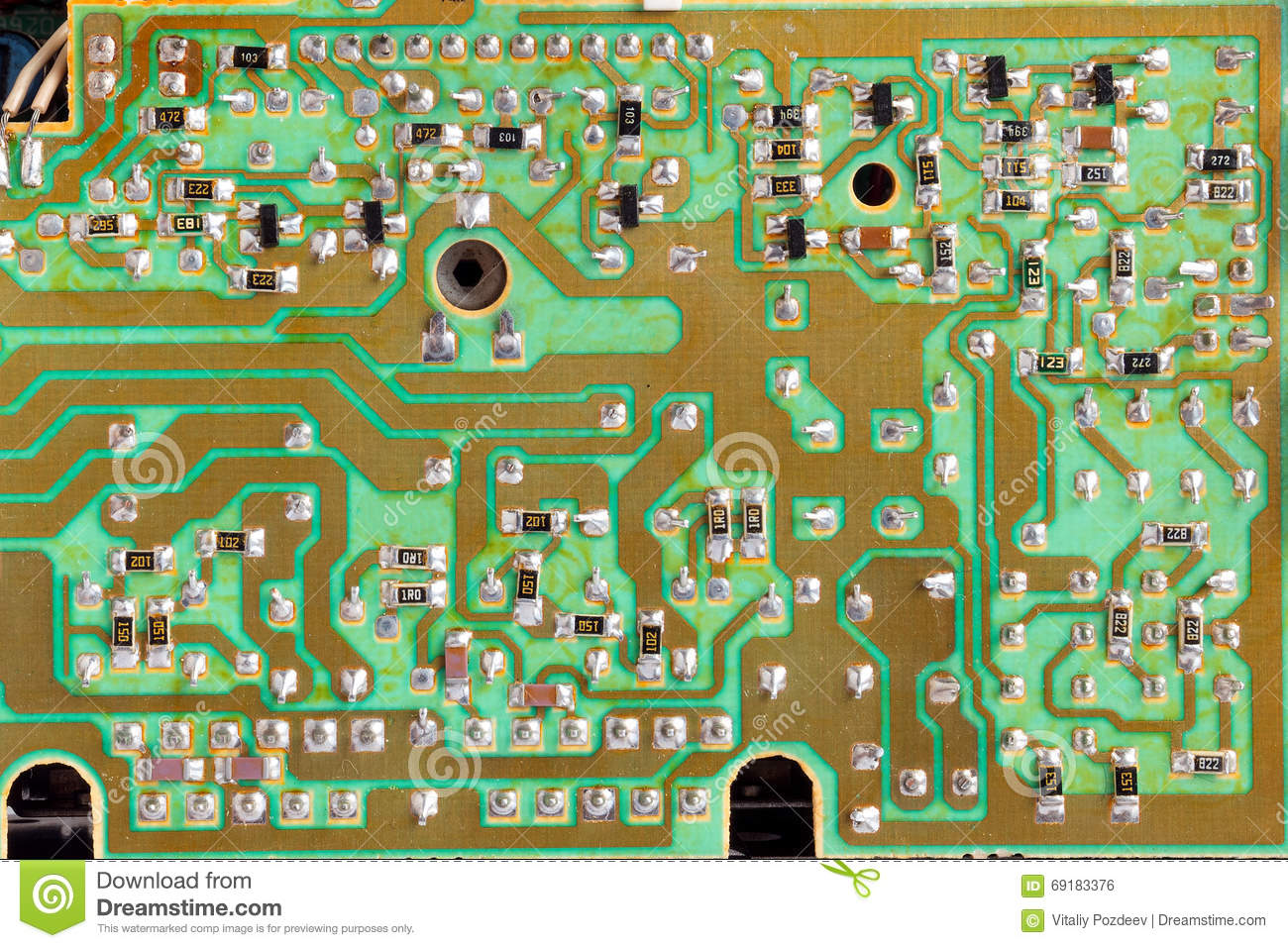 Integrated Circuitchip Cirgreen Pcb Close Up Shot Stock Photo Uses Of Circuit