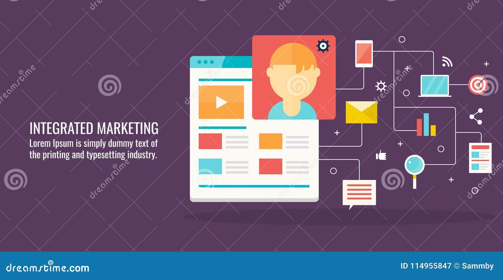 Integriertes Marketing, Kundeninteraktion, Kommunikation, digitales Vernetzungskonzept Flache Designvektorfahne