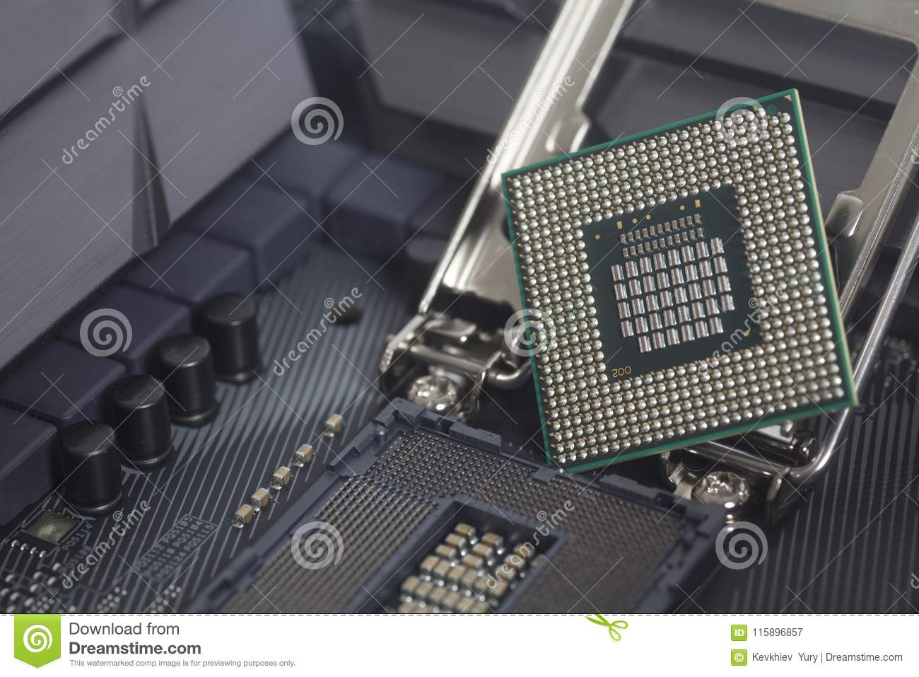 Intel LGA 1151 cpu socket on motherboard Computer PC with cpu processor